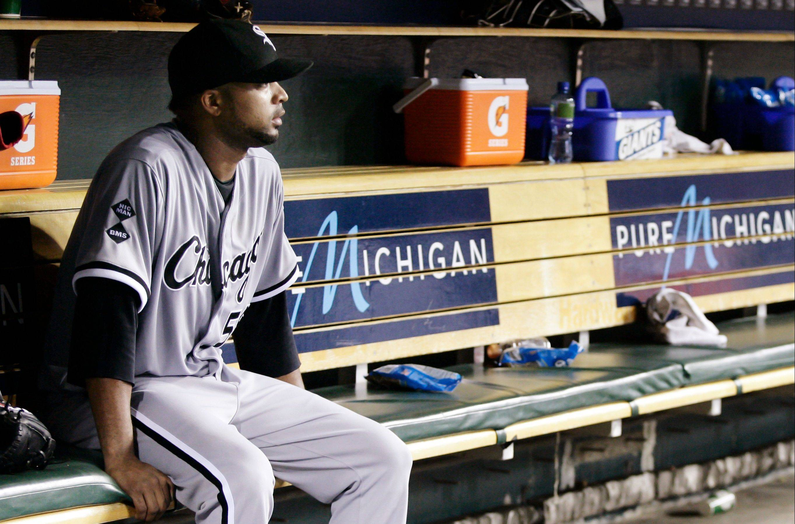 White Sox starter Francisco Liriano reflects on his rough outing Saturday against the Tigers in Detroit. Liriano dropped to 5-1l after working 4 innings, allowing 3 runs on 4 hits with 7 walks.