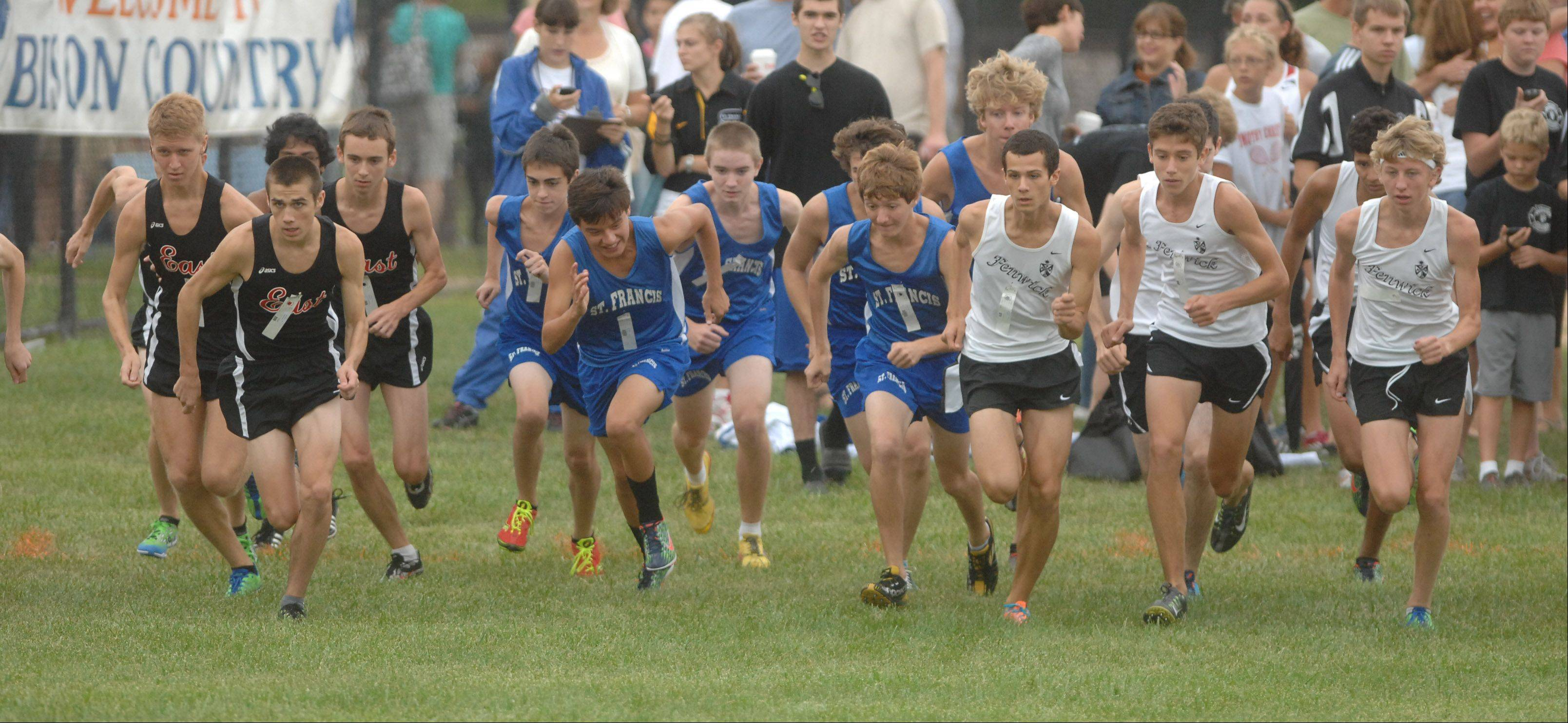 The start of the boys race at the Fenton Earlybird Invitational on Saturday in Bensenville.