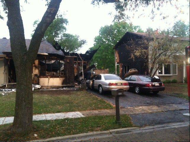Fire seriously damaged two houses in Bartlett early Sunday morning.