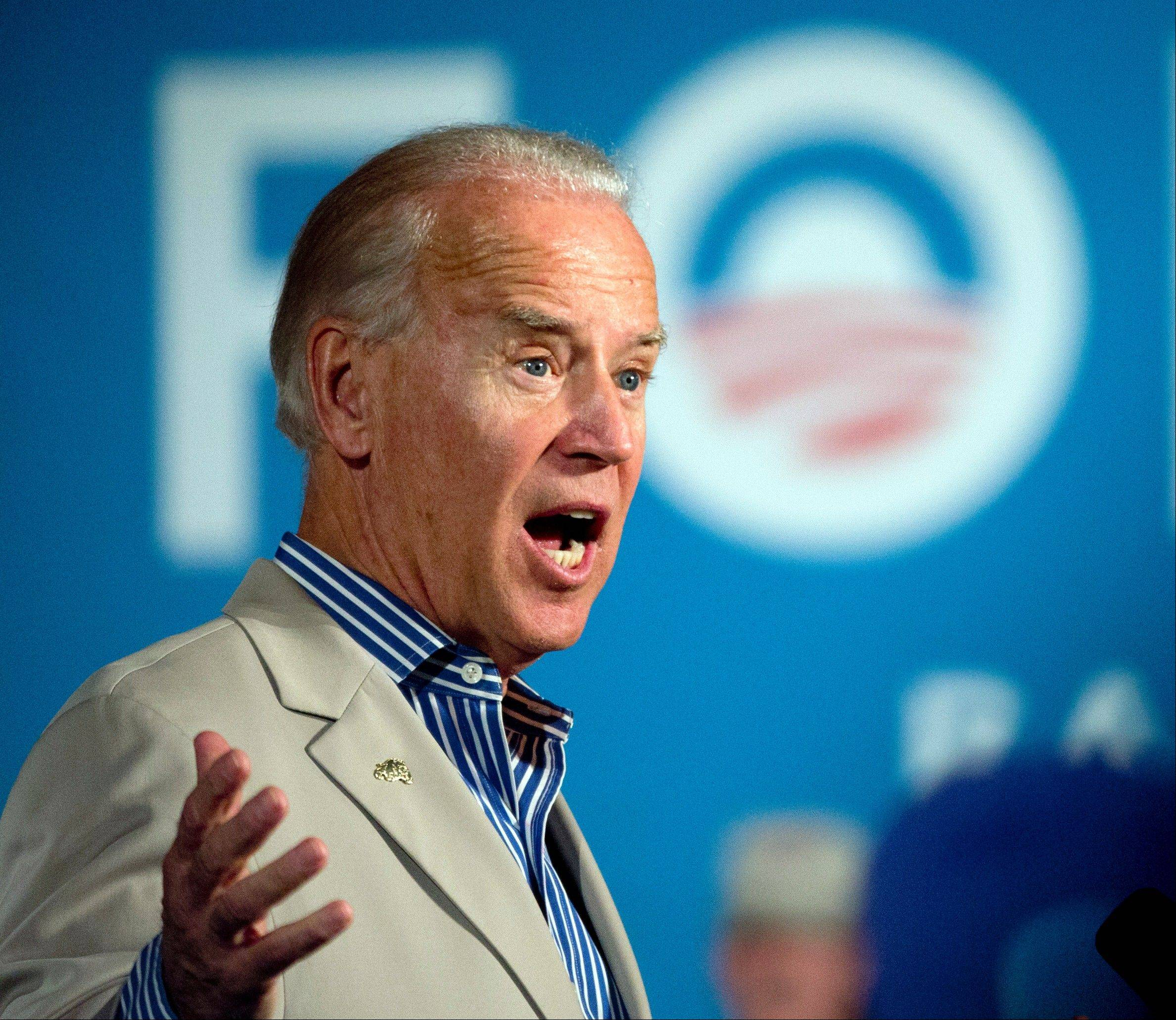 Vice President Joe Biden speaks during a campaign event at West York Area High School, Sunday, in York, Pa.