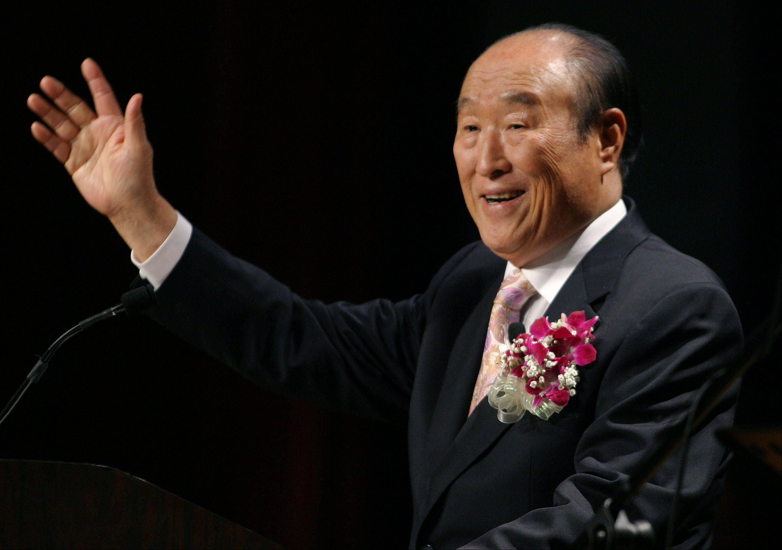 "Unification Church leader Rev. Sun Myung Moon speaks during his ""Now is God's Time"" rally in New York on June 25, 2005. Moon, self-proclaimed messiah who founded Unification Church, died at age 92, church officials said Monday."