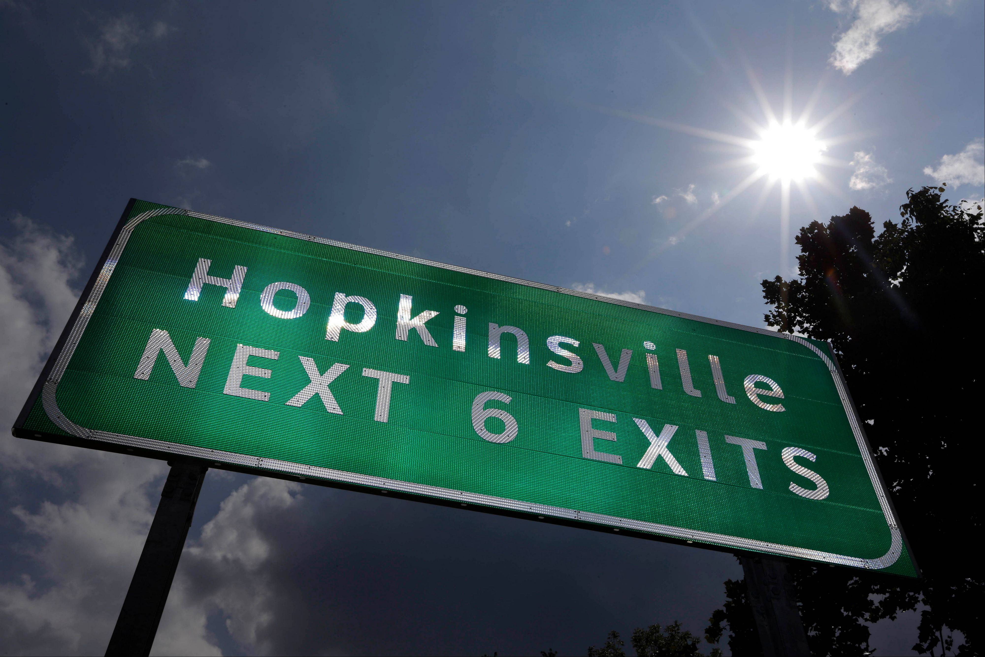 A road sign under the afternoon sun outside Hopkinsville, Ky. When the next total eclipse of the sun darkens skies over parts of the United States on Aug. 21, 2017, the afternoon event will last longer in a rural stretch near Hopkinsville than any place on the planet.