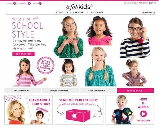 This photo provided by Fabkids.com shows a screenshot from the subscription service website FabKids. A bevy of subscription services with names like FabKids.com and Kiwicrate.com have emerged over the past year that cater to parents who want help keeping their kids dressed and entertained.