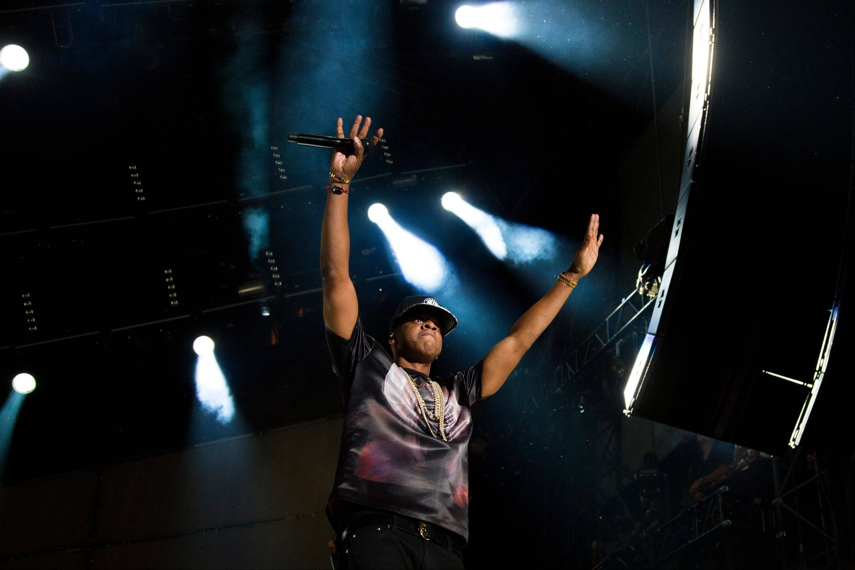 "Jay-Z performs at the ""Made In America"" music festival on Saturday, Sept. 1, 2012, in Philadelphia, PA."