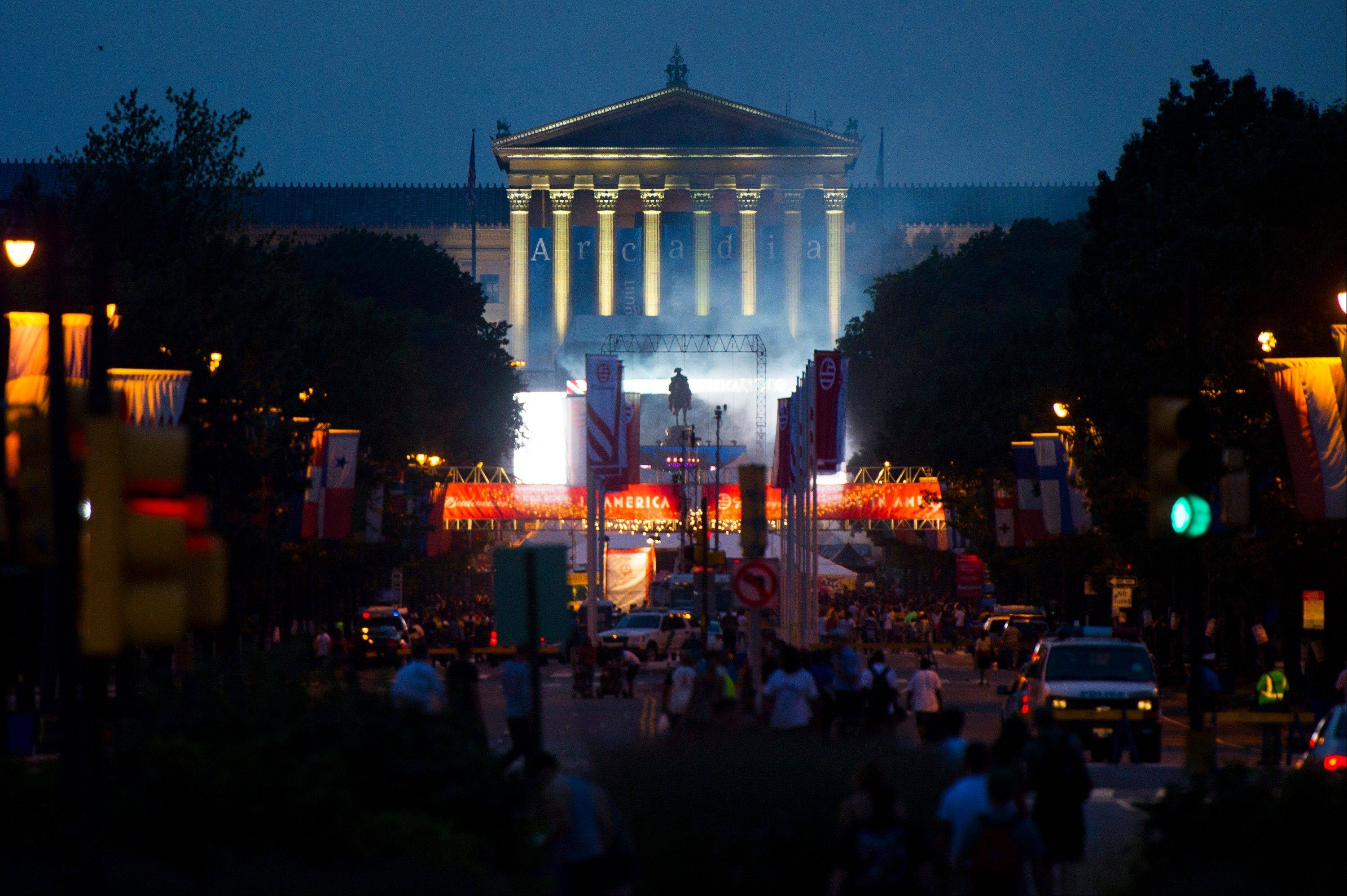 "The ""Made In America"" music festival is seen in front of the Philadelphia Museum of Art on Saturday, Sept. 1, 2012, in Philadelphia, PA."
