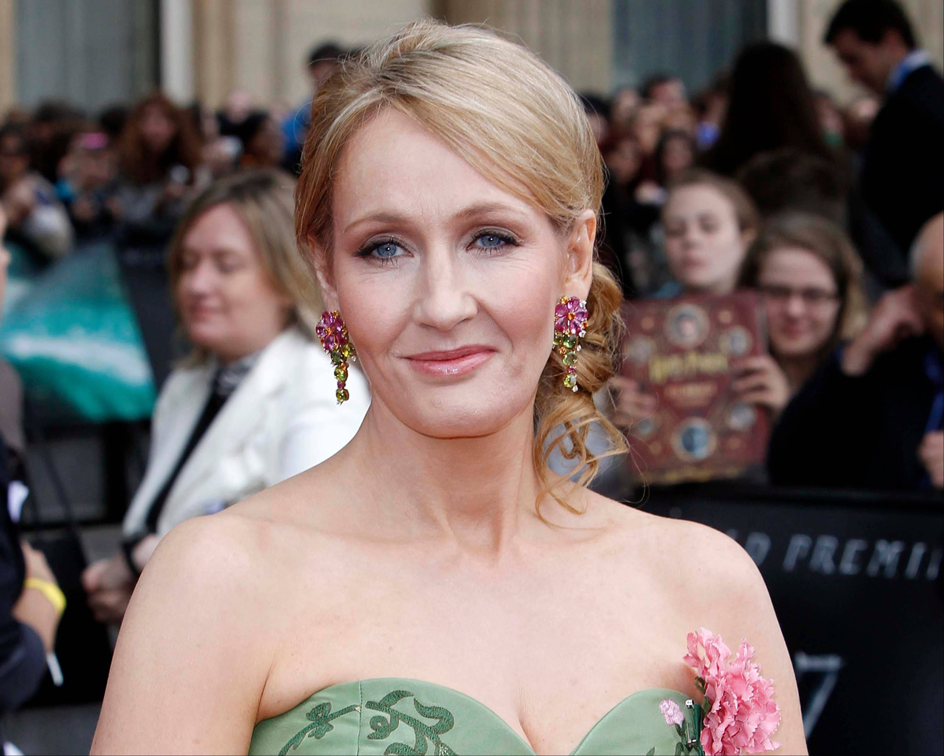 "In this July 7, 2011 file photo, British author JK Rowling arrives in Trafalgar Square, in central London, for the World Premiere of ""Harry Potter and The Deathly Hallows: Part 2,"" the last film in the series."