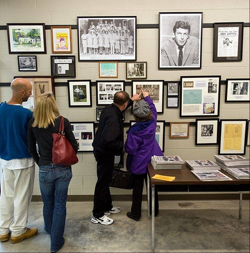 "Visitors look at exhibits in the Andy Griffith Museum in Mount Airy, N.C. The town served as the inspiration for Mayberry, which was the fictional setting for the popular 1960s TV show ""The Andy Griffith Show."""
