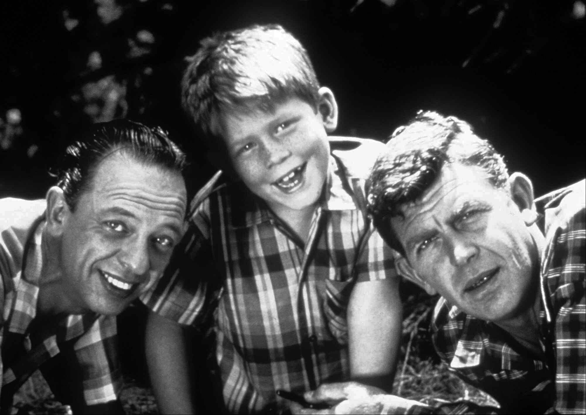 "Cast members from ""The Andy Griffith Show,"" included Don Knotts, left, as Deputy Barney Fife, Ron Howard as Opie Taylor and Andy Griffith as Sheriff Andy Taylor."