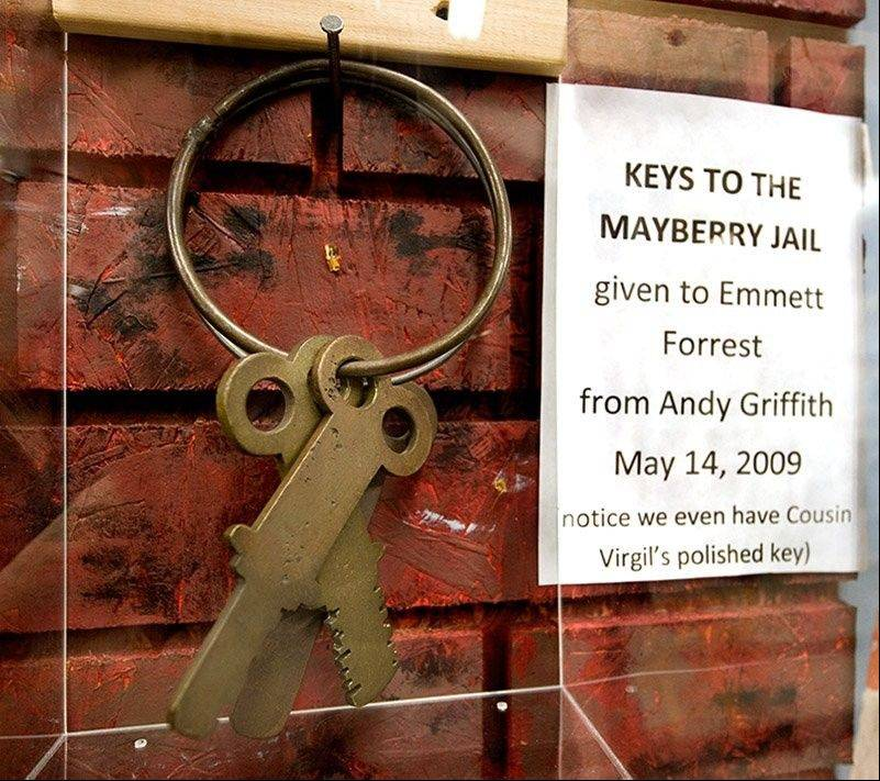 "An exhibit at the Andy Griffith Museum in Mount Airy, N.C., includes keys to the jail from ""The Andy Griffith Show."""