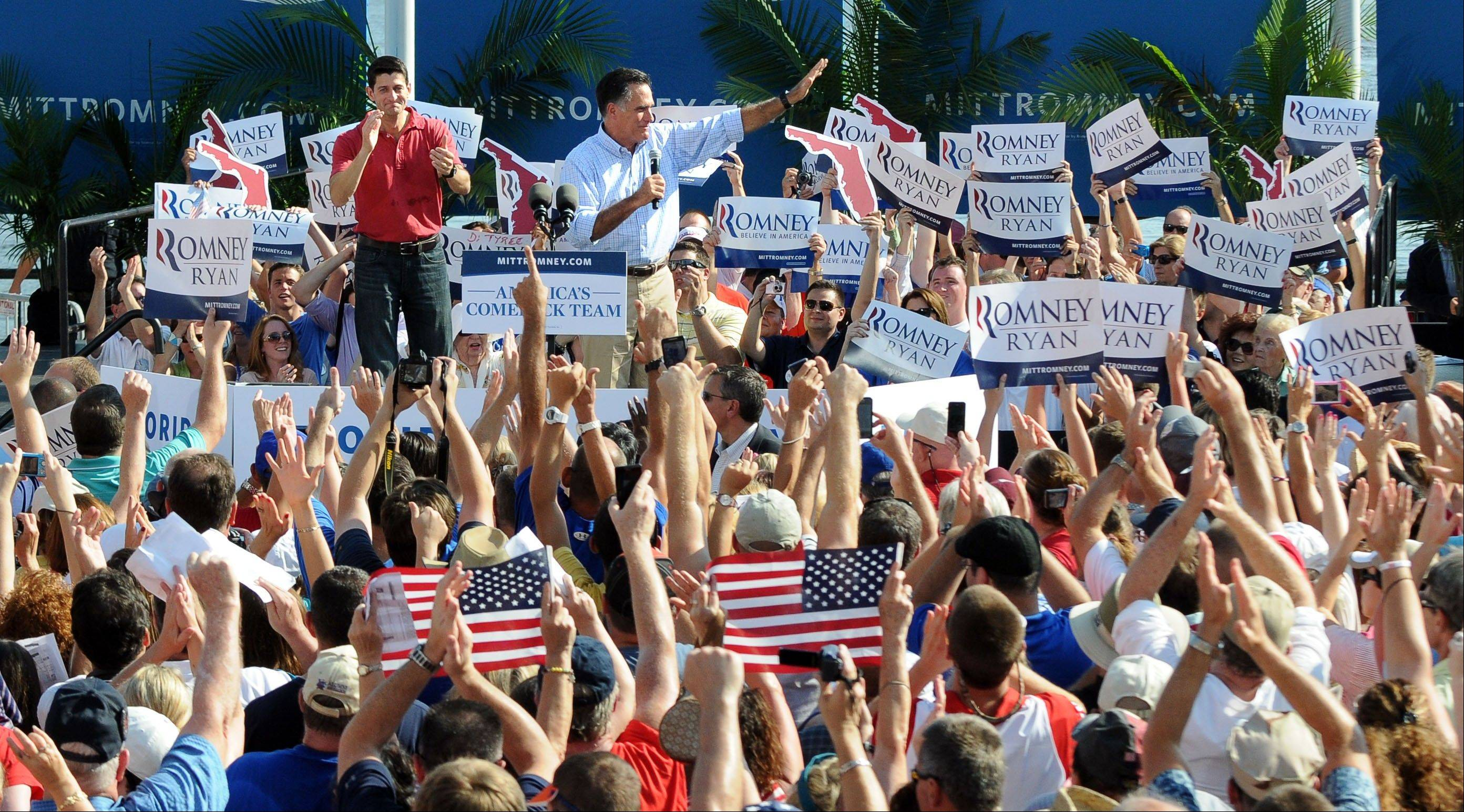 Republican presidential candidate, former Massachusetts Gov. Mitt Romney and vice presidential running mate, Rep. Paul Ryan, R-Wis. appear at a rally at the Jacksonville Landing, Saturday, Sept. 1, 2012 in Jacksonville, Fla.