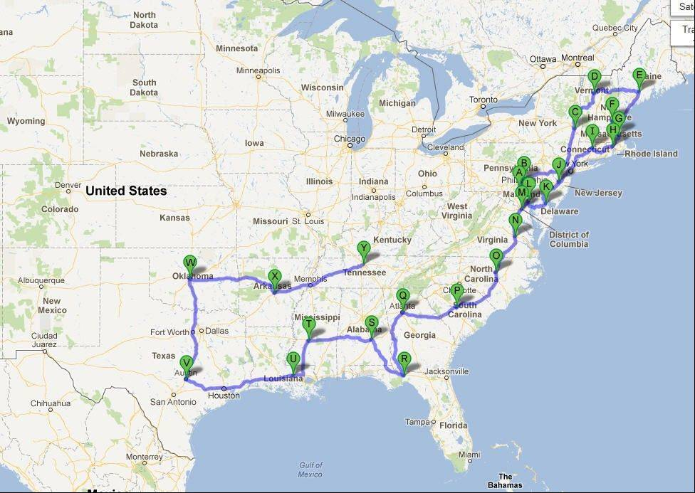 While planning the eastern portion of his pilgrimage, Mickey Straub charts his path on this map.