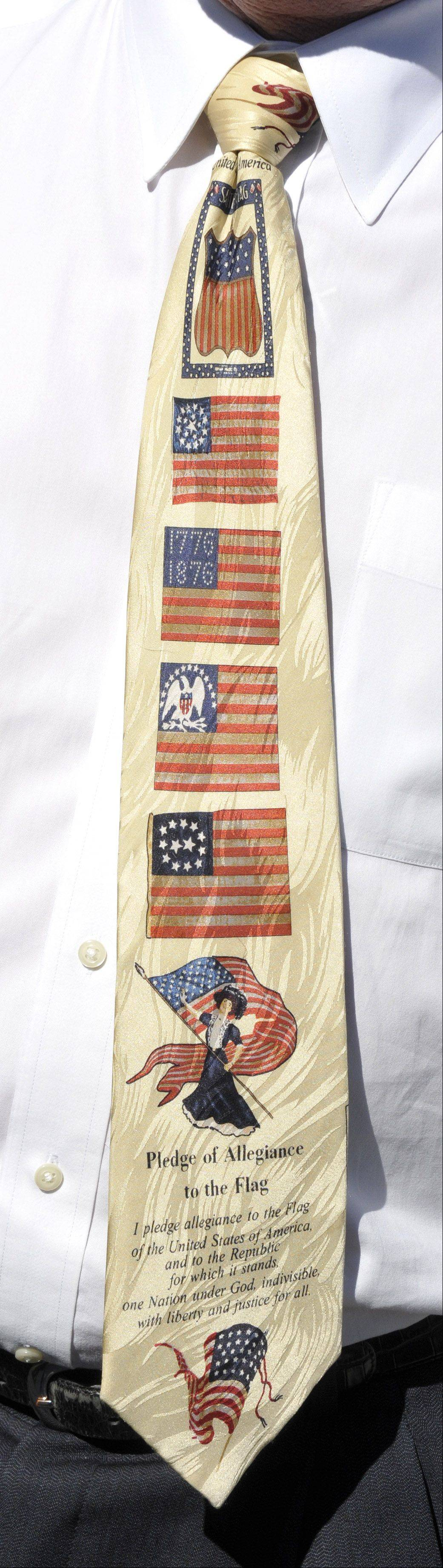 Patriotism exudes from business owner Mickey Straub as evidenced by his Pledge of Allegiance tie.