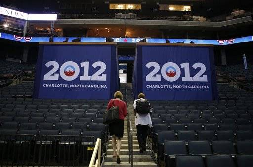 Inside Time Warner Cable Arena is seen facilitated for the Democratic National Convention in Charlotte, N.C.