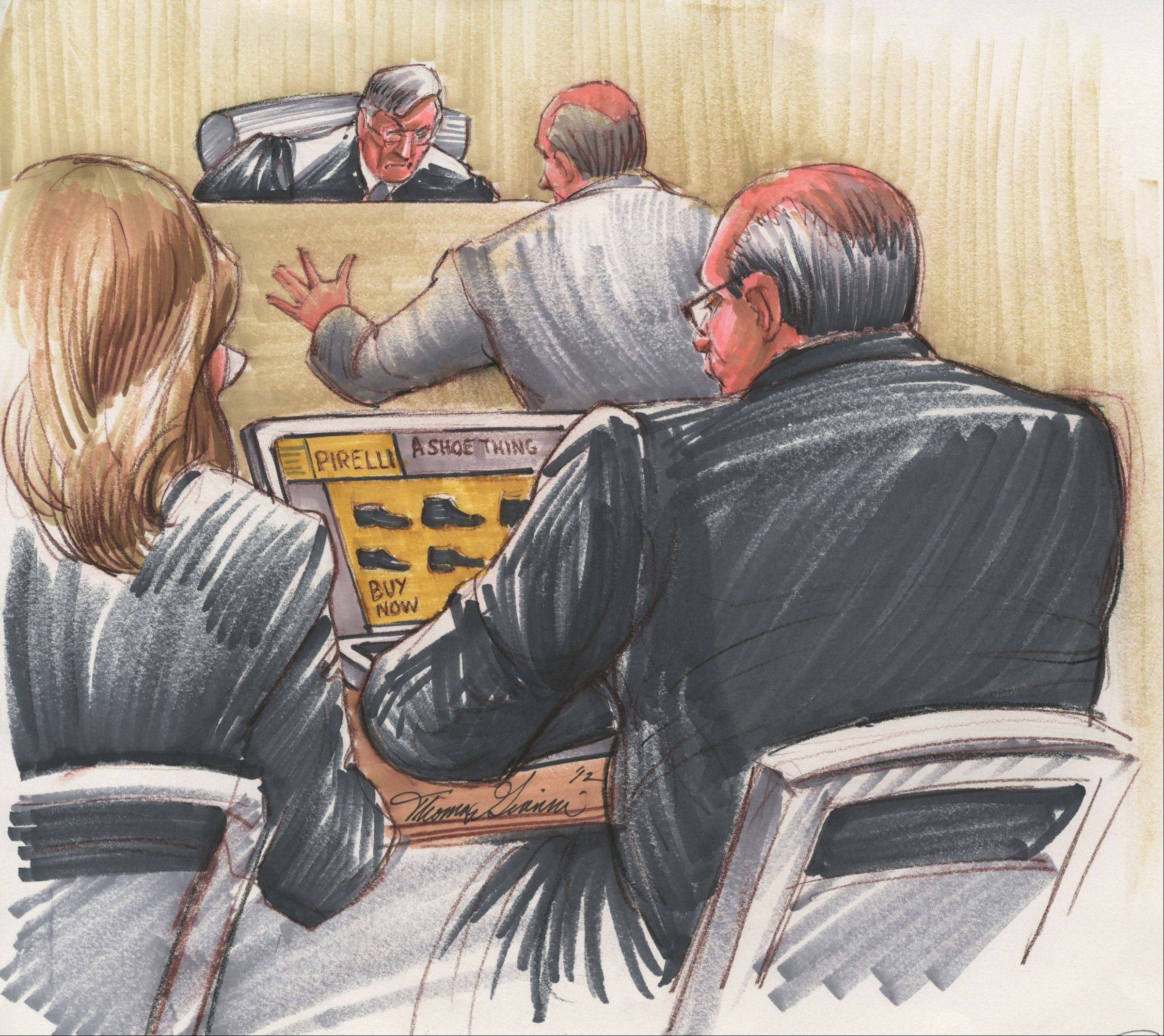 "A courtroom sketch by Tom Gianni during the Drew Peterson murder trial showed one of the defendant's lawyers doing online browsing of expensive shoes. ""A camera never would have caught that,"" Gianni said."