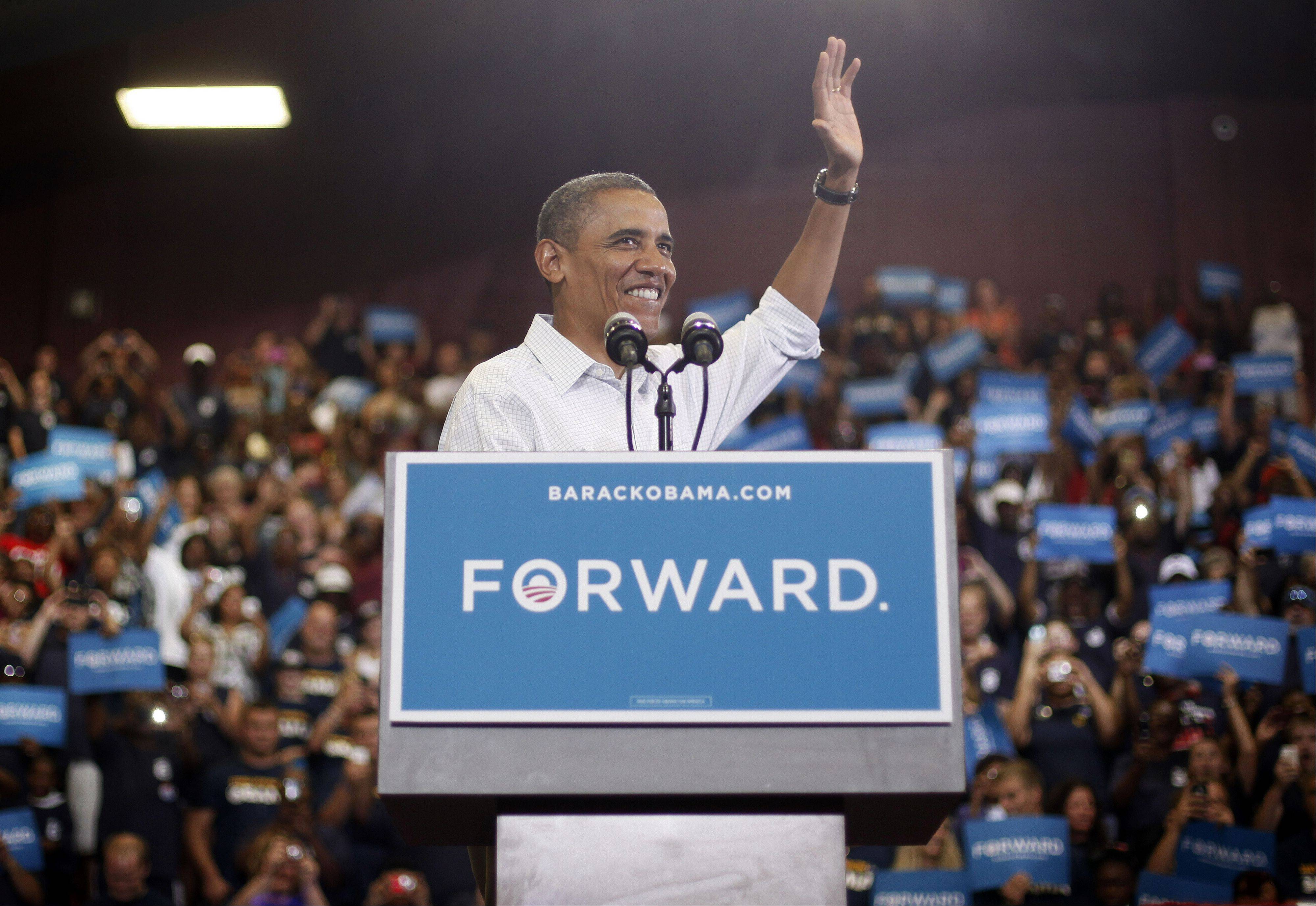 President Barack Obama speaks during a campaign event at Scott High School, Monday, in Toledo, Ohio.
