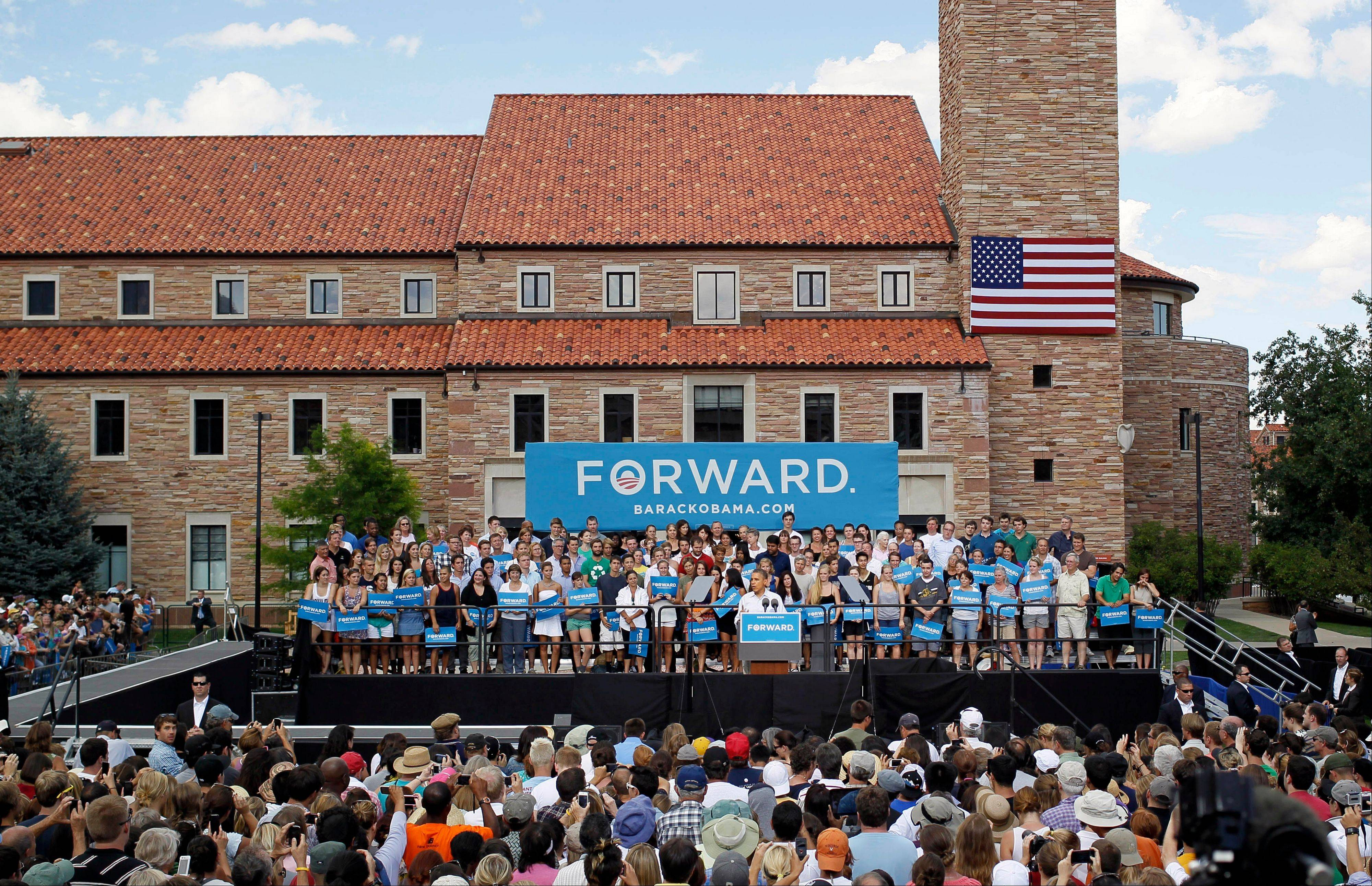 President Barack Obama speaks during campaign stop on the campus of the University of Colorado in Boulder, Colo., on Sunday, Sept. 2, 2012.