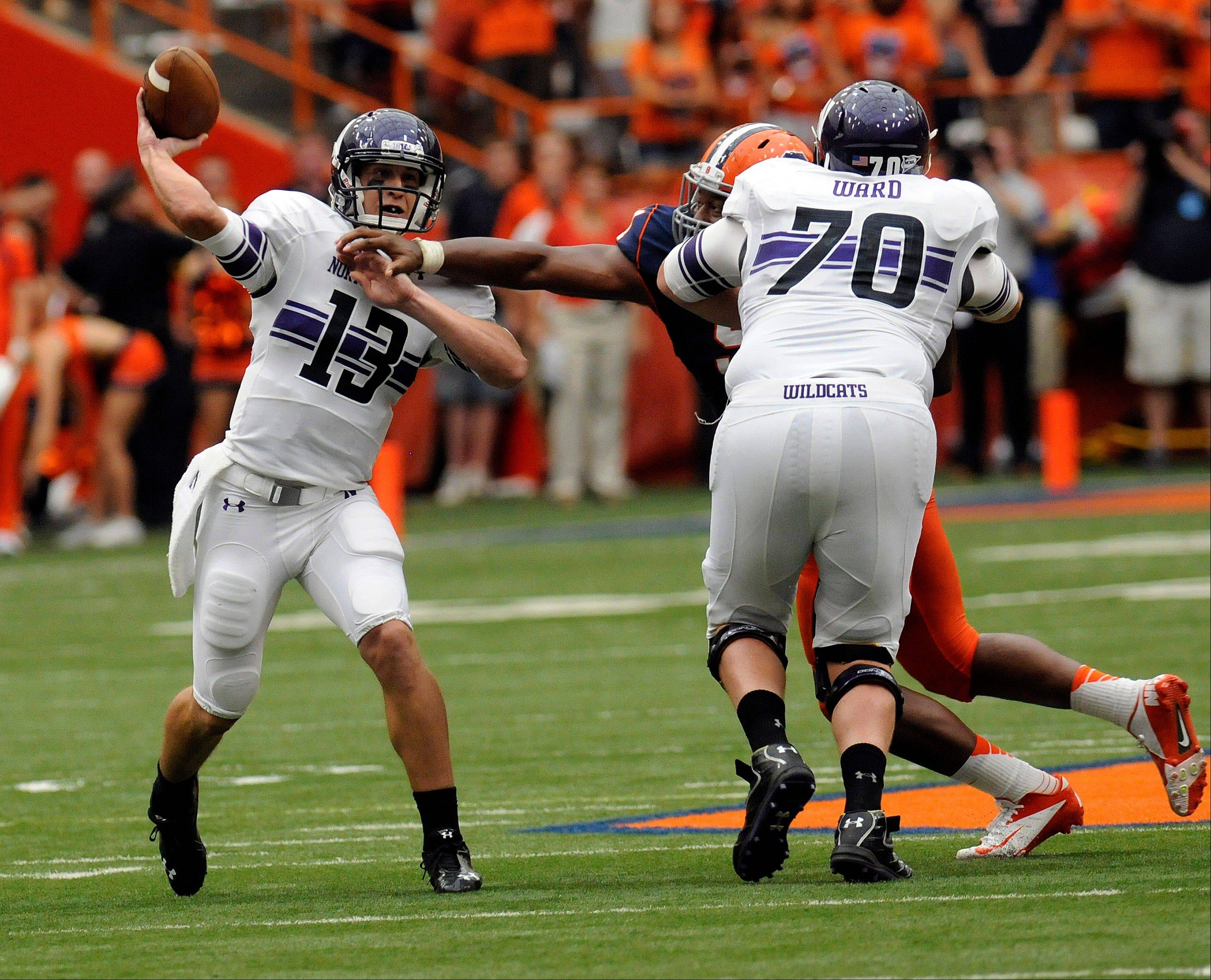 Northwestern backup QB Trevor Siemian throws a game-tying, 9-yard touchdown with 44 seconds left against host Syracuse on Saturday. Demetrius Fields made the catch and the Wildcats won 42-41 when the extra point was good.