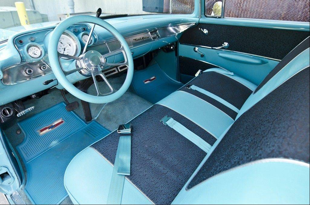 The Chevy's interior matches the factory Tropical Turquoise paint.
