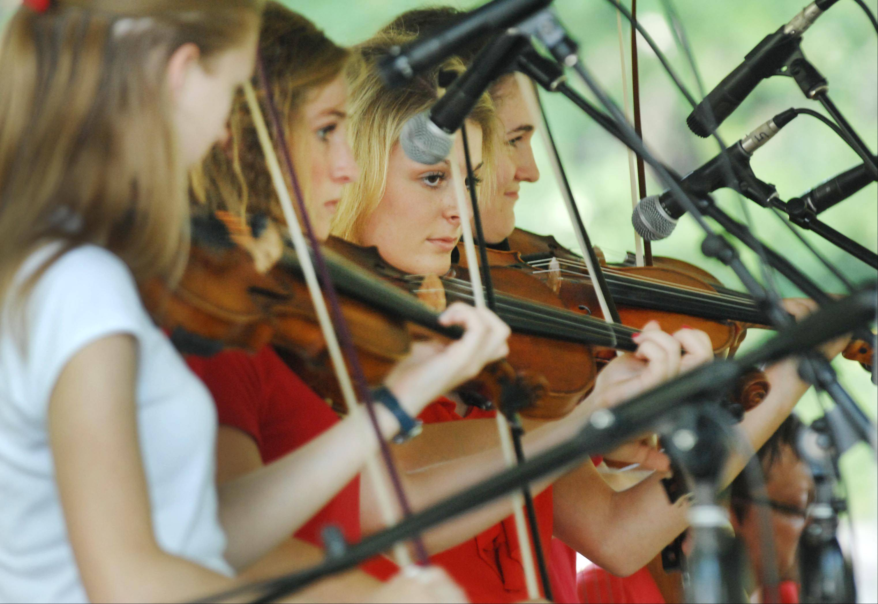 The Girls of Murphy Roache play fiddle together at the 36th Annual Fox Valley Folk Music & Storytelling Festival in Island Park in Geneva Monday.