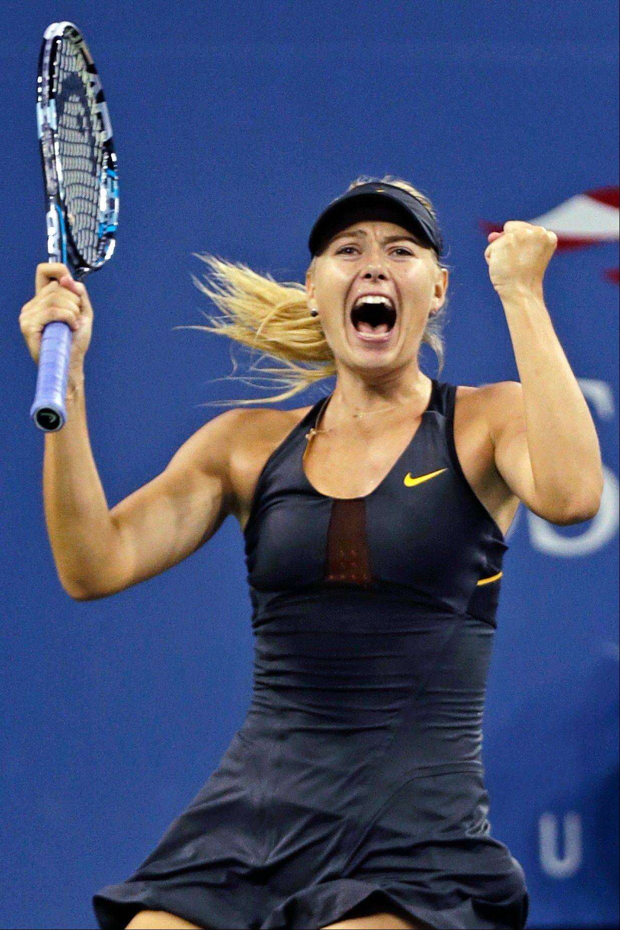 Maria Sharapova, of Russia, reacts after defeating Nadia Petrova, of Russia, 6-1, 4-6, 6-4 in the fourth round of play at the U.S. Open tennis tournament, Sunday, Sept. 2, 2012, in New York.