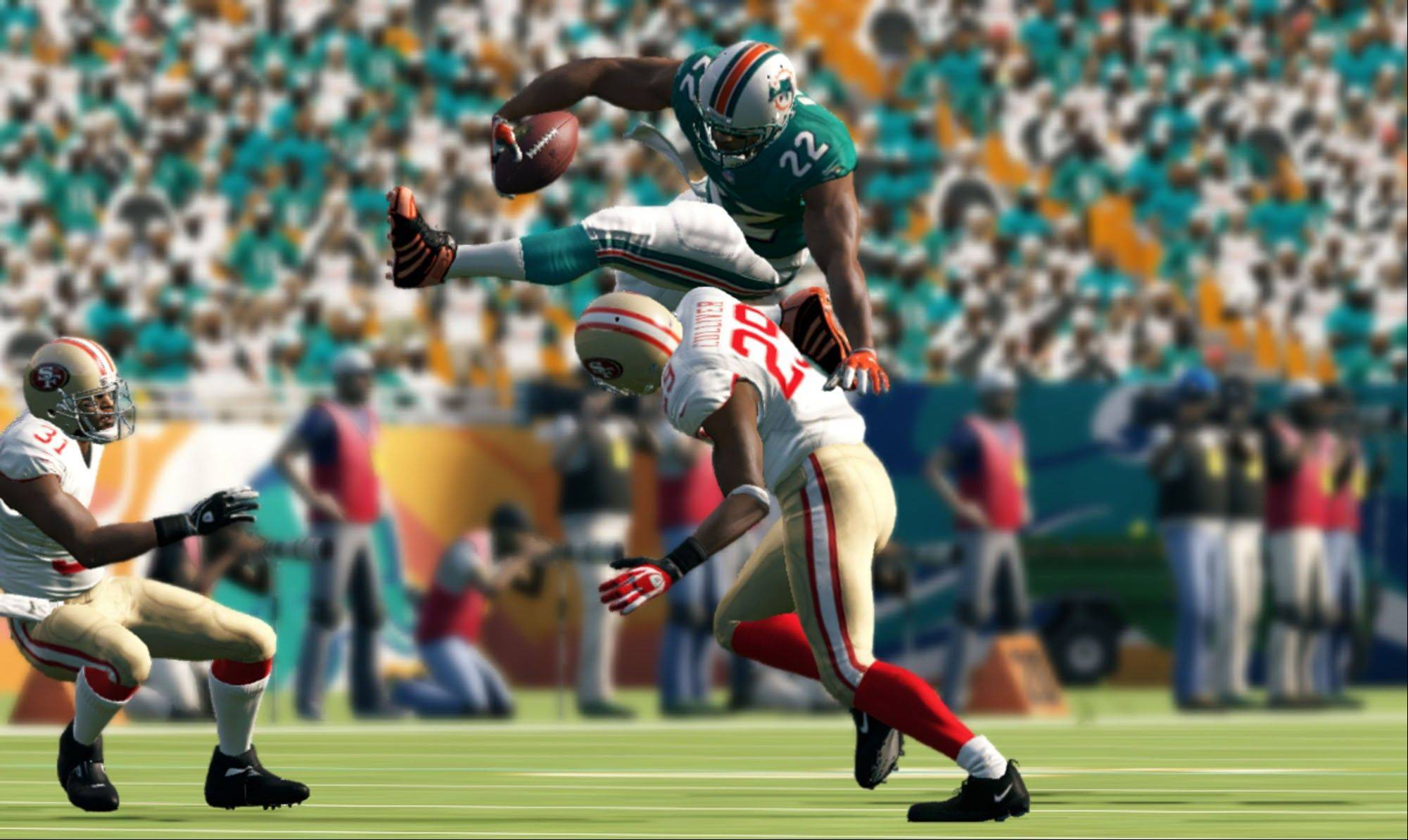 "The Miami Dolphins take on the San Francisco 49ers in the revamped ""Madden NFL 13."""