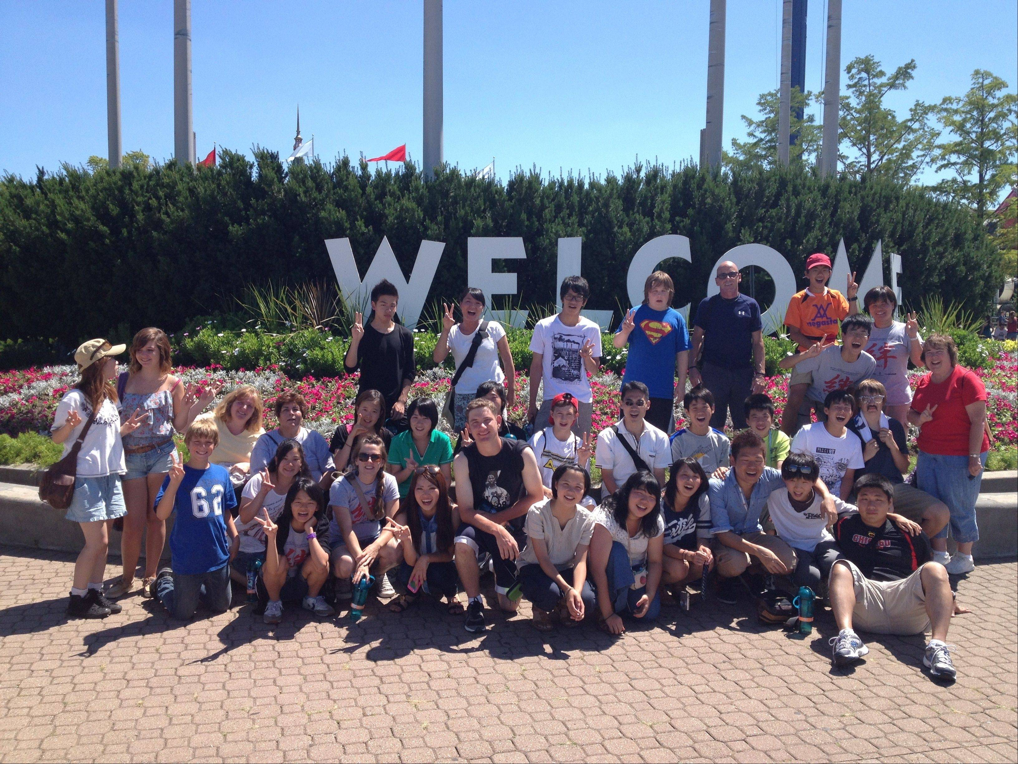 Young people from Japan and their U.S. hosts enjoy a day at Great America in Gurnee.