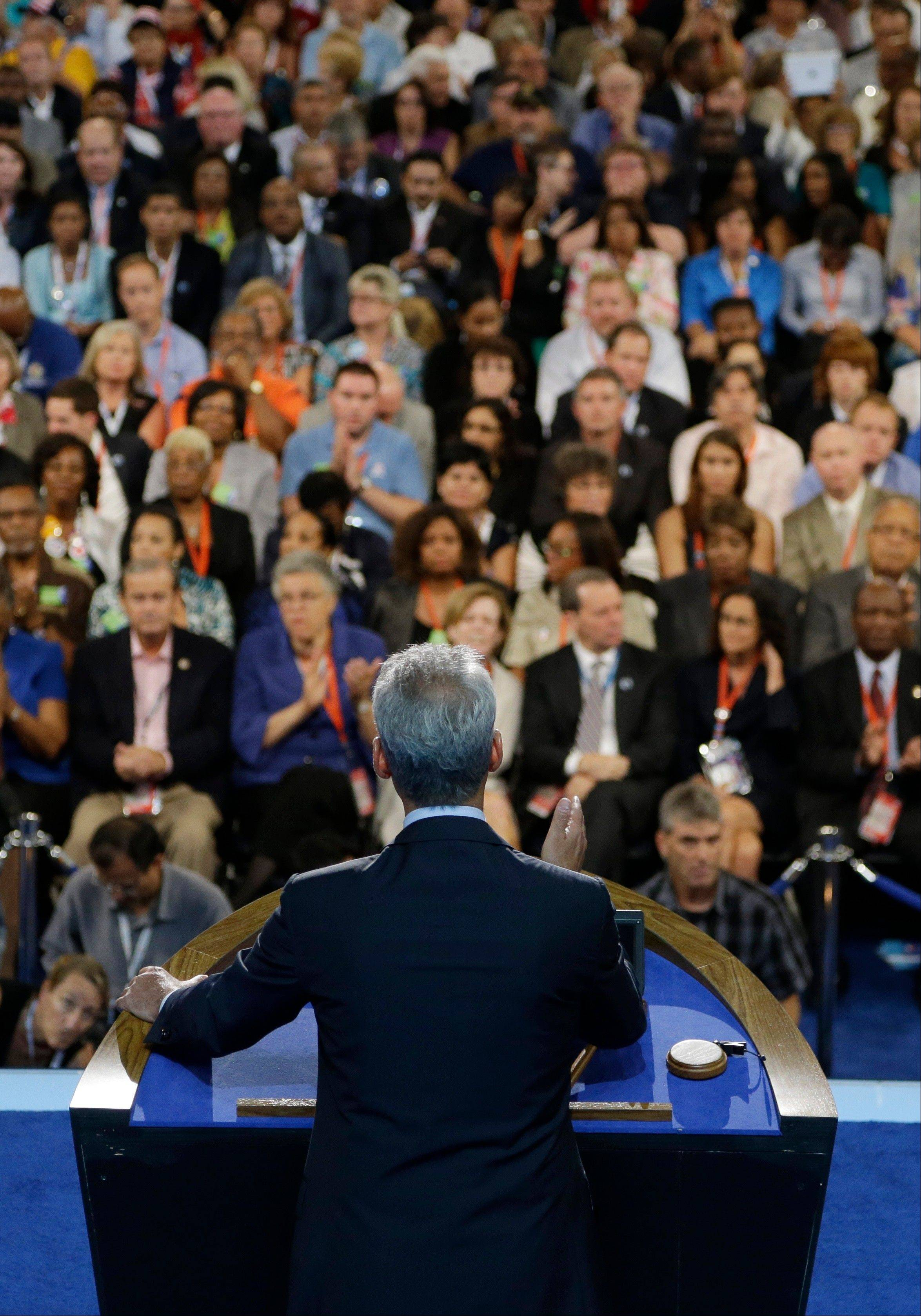 Chicago Mayor Rahm Emanuel speaks to delegates at the Democratic National Convention in Charlotte, N.C., on Tuesday, Sept. 4, 2012.