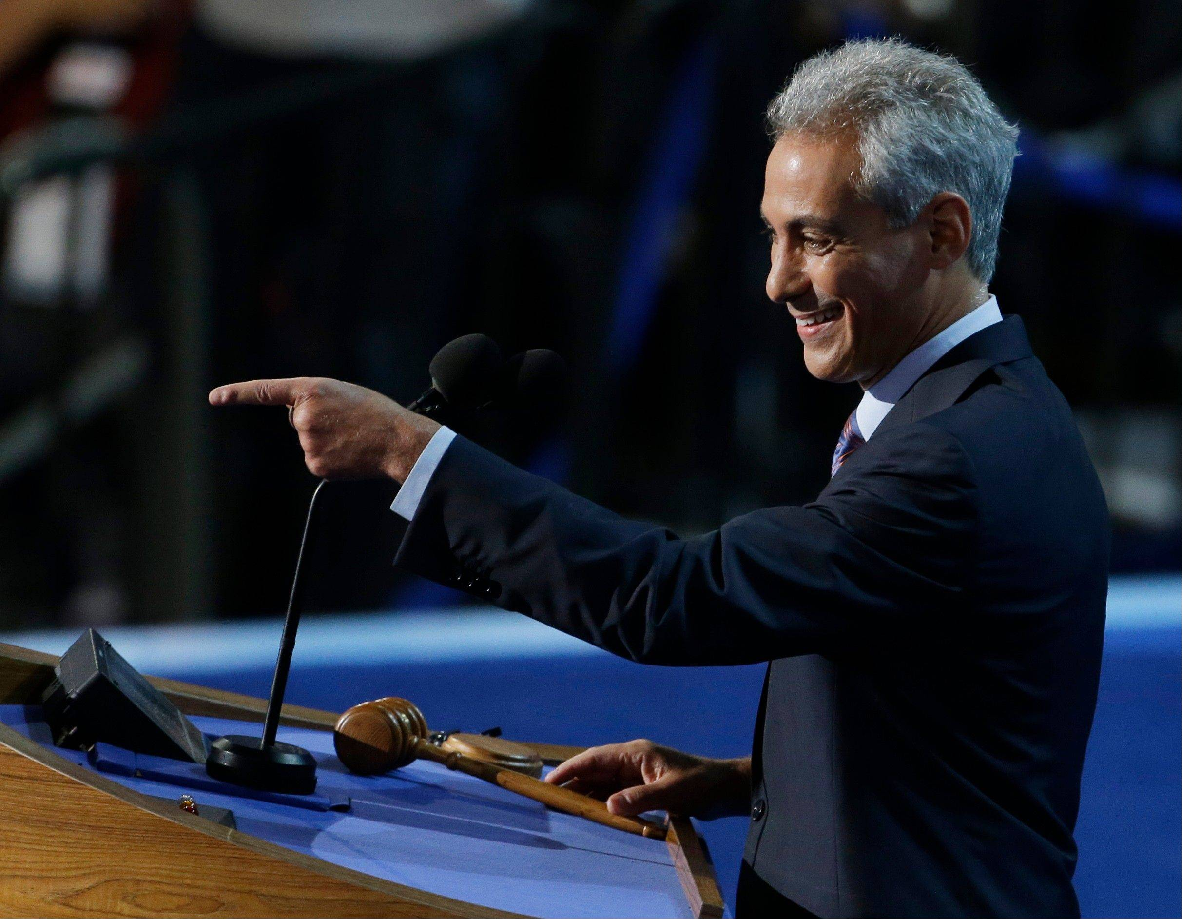 Chicago Mayor Rahm Emanuel points to delegates at the Democratic National Convention in Charlotte, N.C., on Tuesday, Sept. 4, 2012.