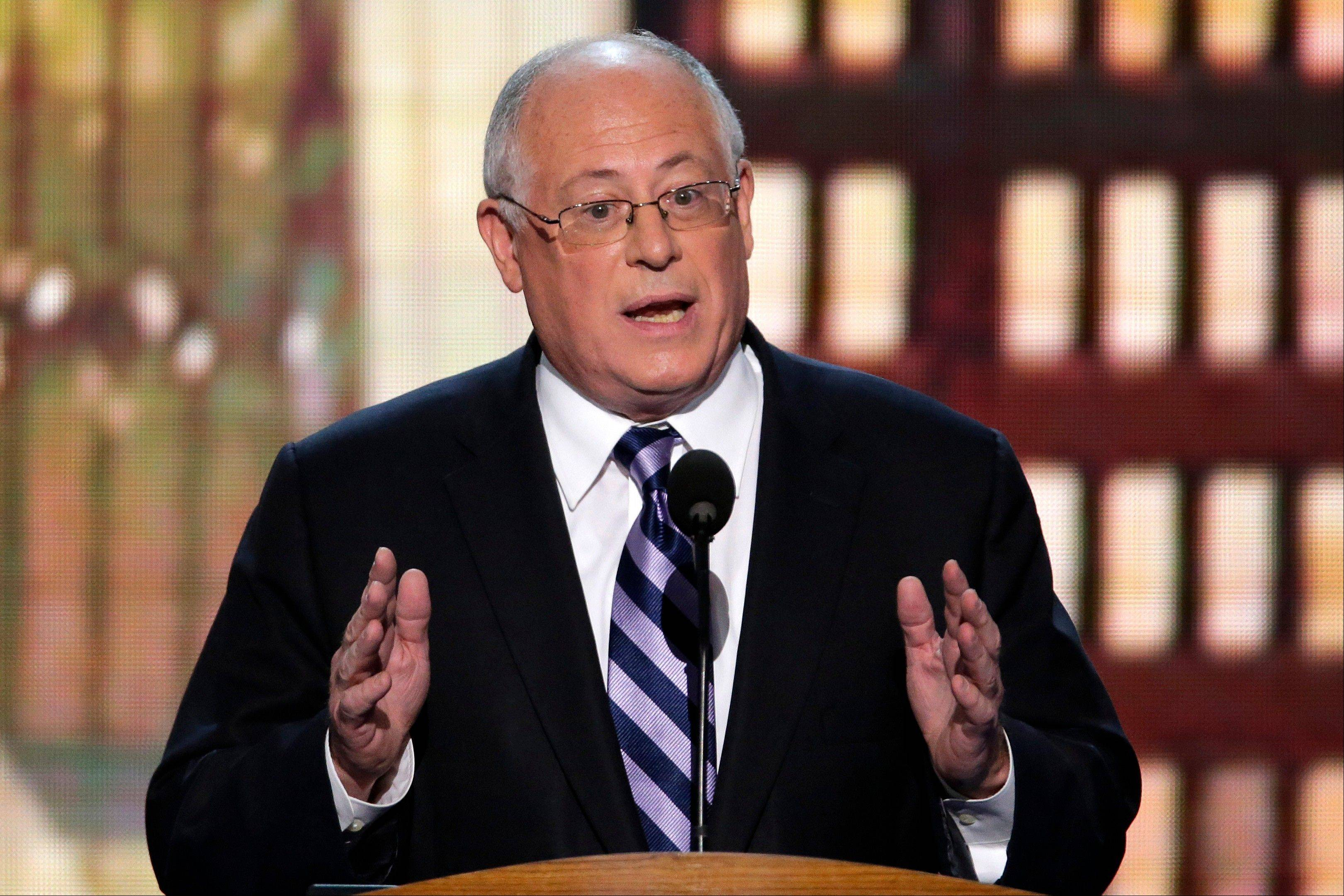 Illinois Gov. Pat Quinn addresses the Democratic National Convention in Charlotte, N.C., on Tuesday, Sept. 4, 2012.