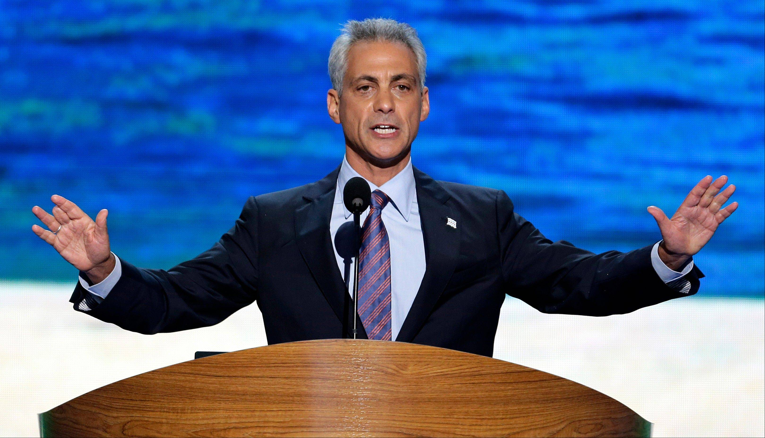 Chicago Mayor Rahm Emanuel addresses the Democratic National Convention Tuesday in Charlotte, N.C.