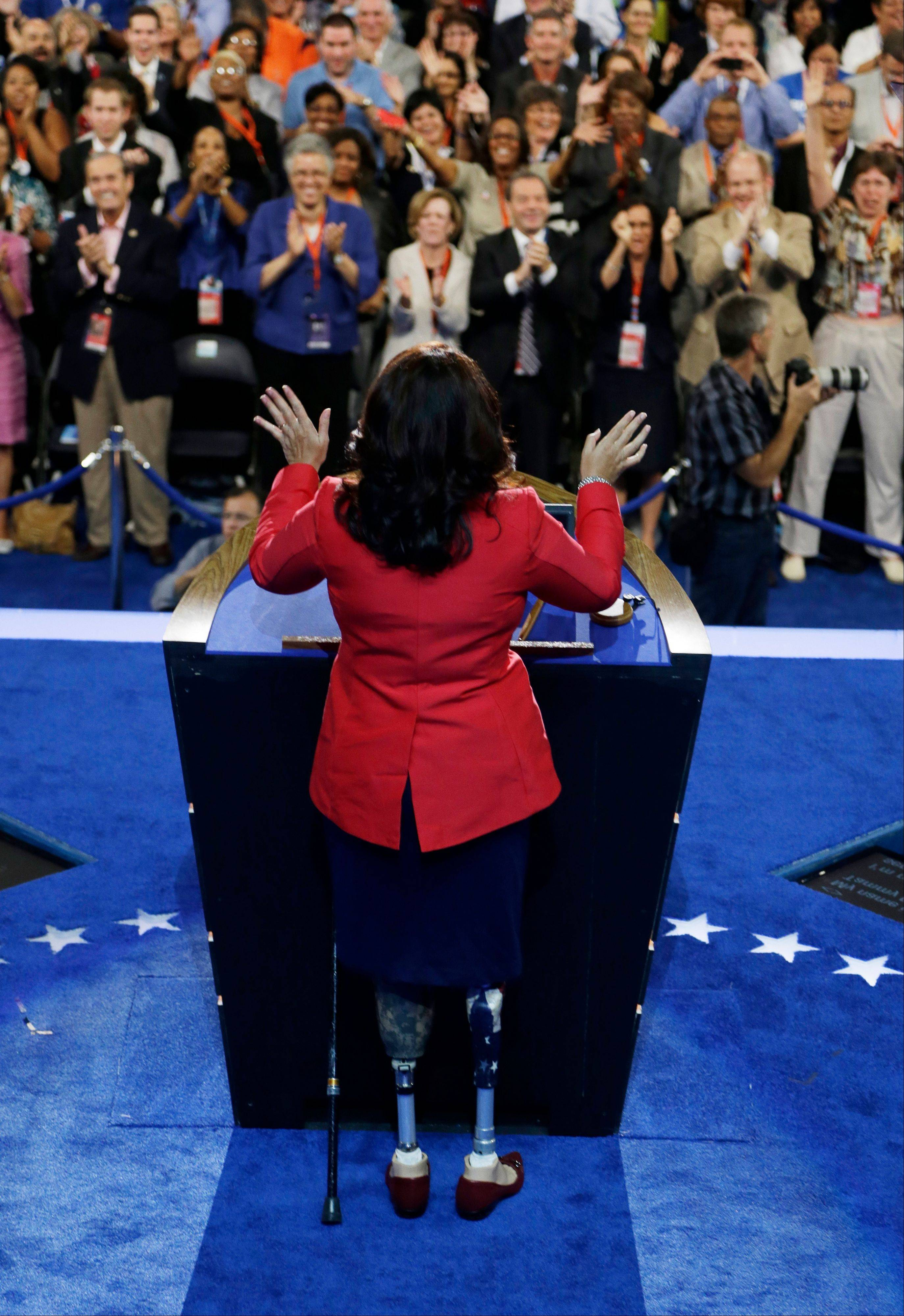 Former Assistant Secretary, U.S. Department of Veterans Affairs Tammy Duckworth speaks Tuesday to delegates at the Democratic National Convention in Charlotte, N.C.