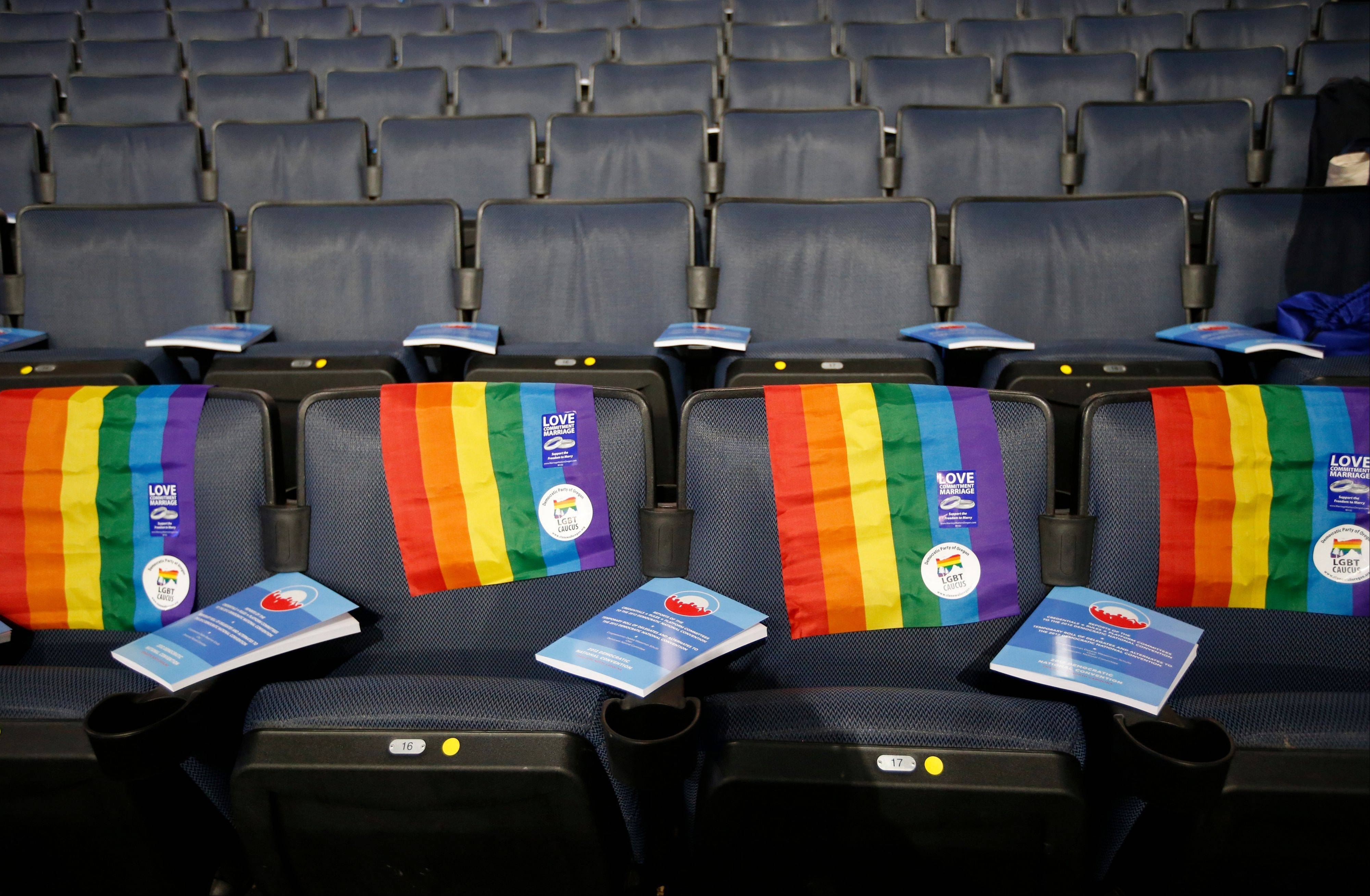 Rainbow flags are placed on a row of seats at the Democratic National Convention in Charlotte, N.C., Tuesday.