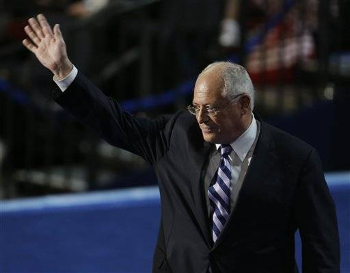 Illinois Gov. Pat Quinn waves to delegates after speaking at the Democratic National Convention in Charlotte, N.C., on Tuesday, Sept. 4, 2012.