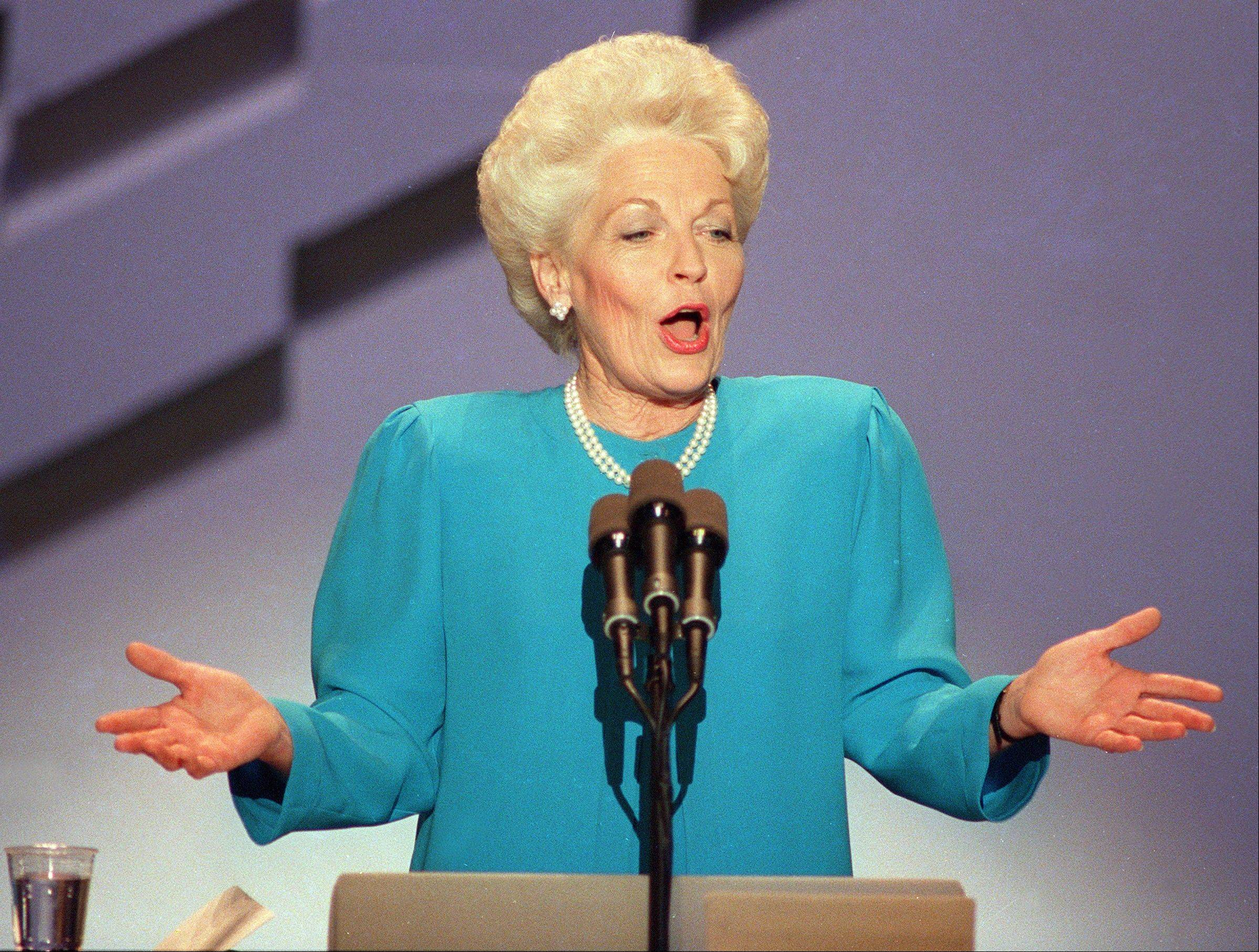 "At the 1988 Democratic National Convention in Atlanta, Ann Richards skewered George H.W. Bush with the line: ""Poor George. He can't help it. He was born with a silver foot in his mouth."""