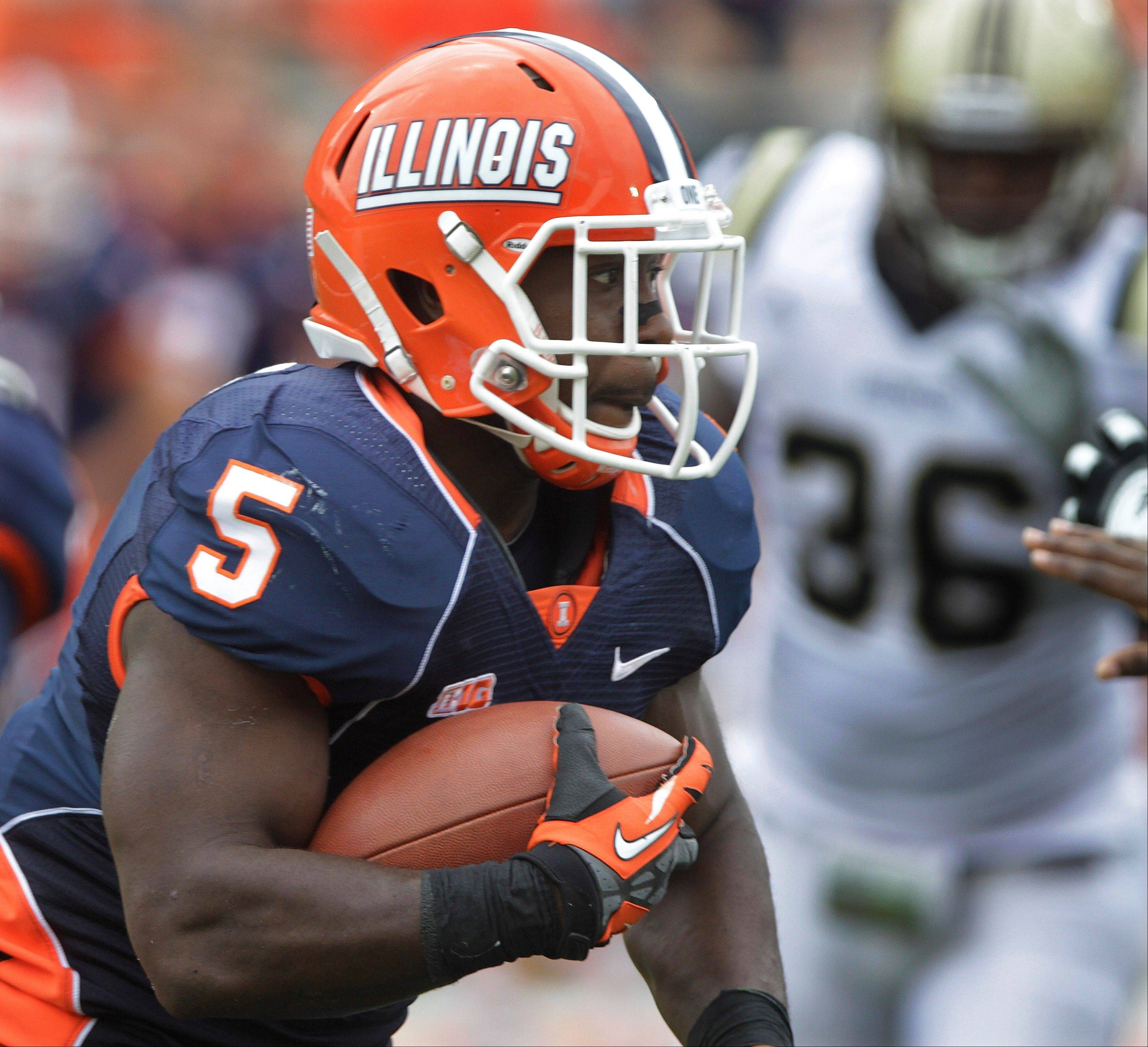 Illinois' Donovonn Young runs with the ball against Western Michigan during the second half of Saturday's 24-7 win in Champaign. The Illini travel to Arizona State this weekend.