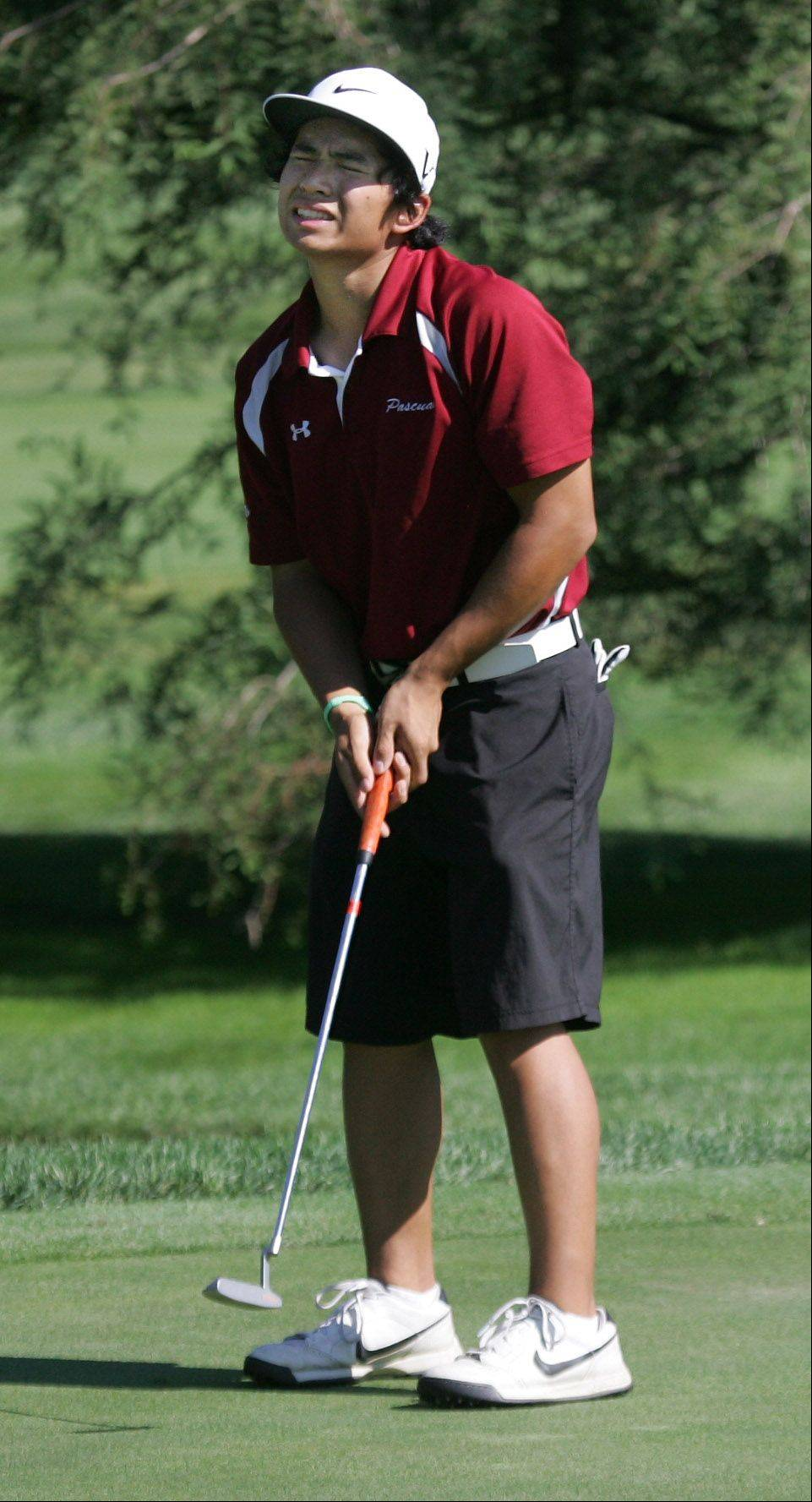 Antioch's Eric Pascual reacts after missing his putt on the 13th hole during the Biltmore Country Club Invitational boys golf tournament Monday in North Barrington.