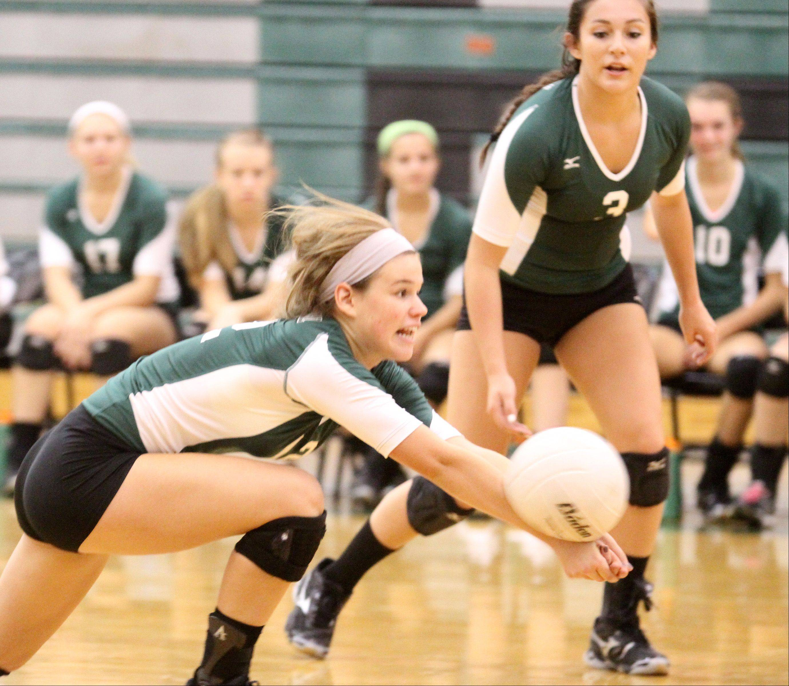 Grayslake Central's Hannah Thomas gets under a spike during Saturday's volleyball match against Richmond-Burton in Grayslake.