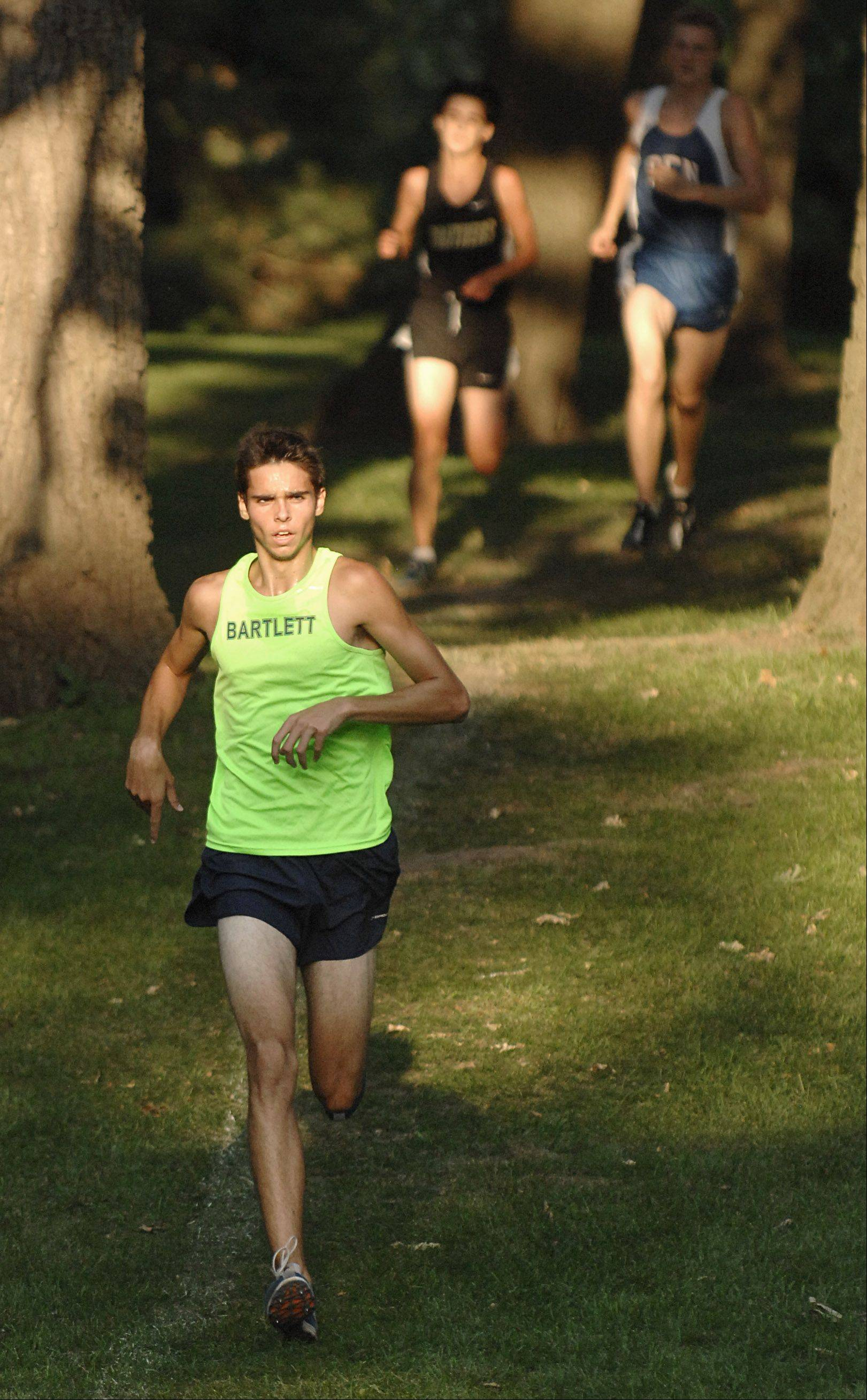 Bartlett's Connor Rachford leads the pack for the win in the Elgin City Classic at Lords Park on Tuesday.