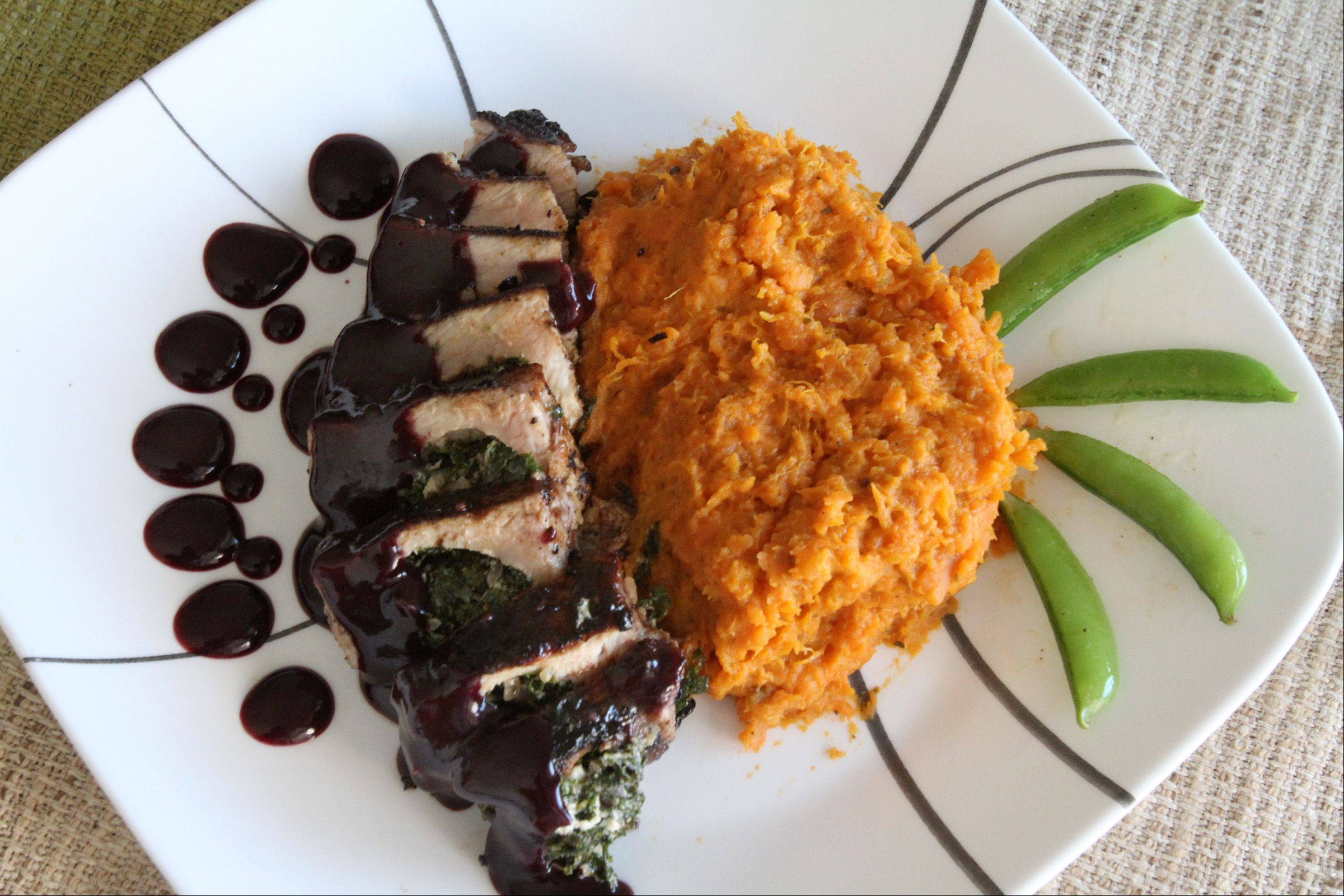 Cook of the Week Challenge contestant Rachel Hencz created a sherry and blueberry barbecue sauce for her kale and feta-stuffed pork chops.