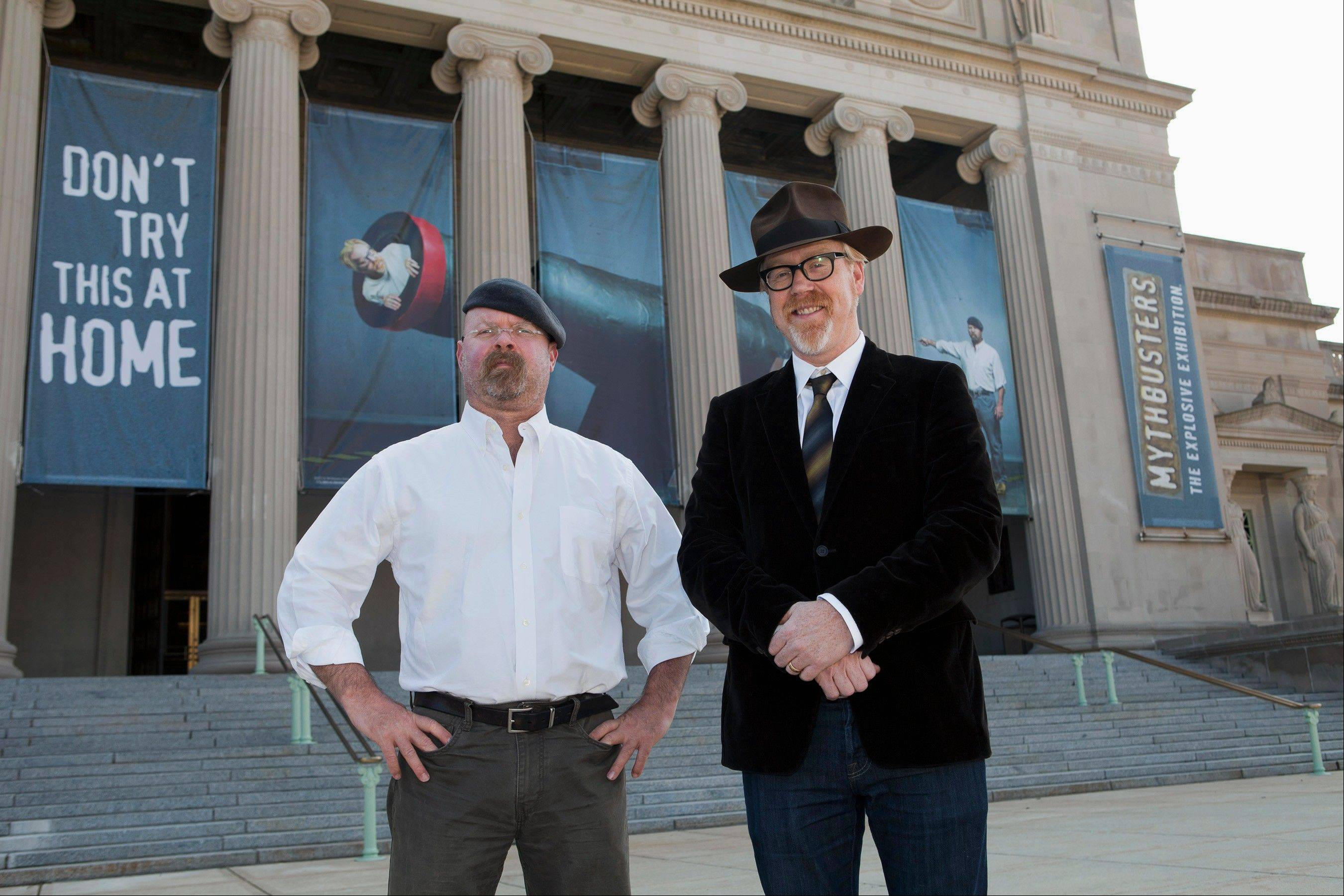 Associated Press Discovery Channel stars Jamie Hyneman, left, and Adam Savage, are coming to the Sears Centre Arena in Hoffman Estates with the touring show �MythBusters: Behind the Myths� on Saturday, Nov. 10.