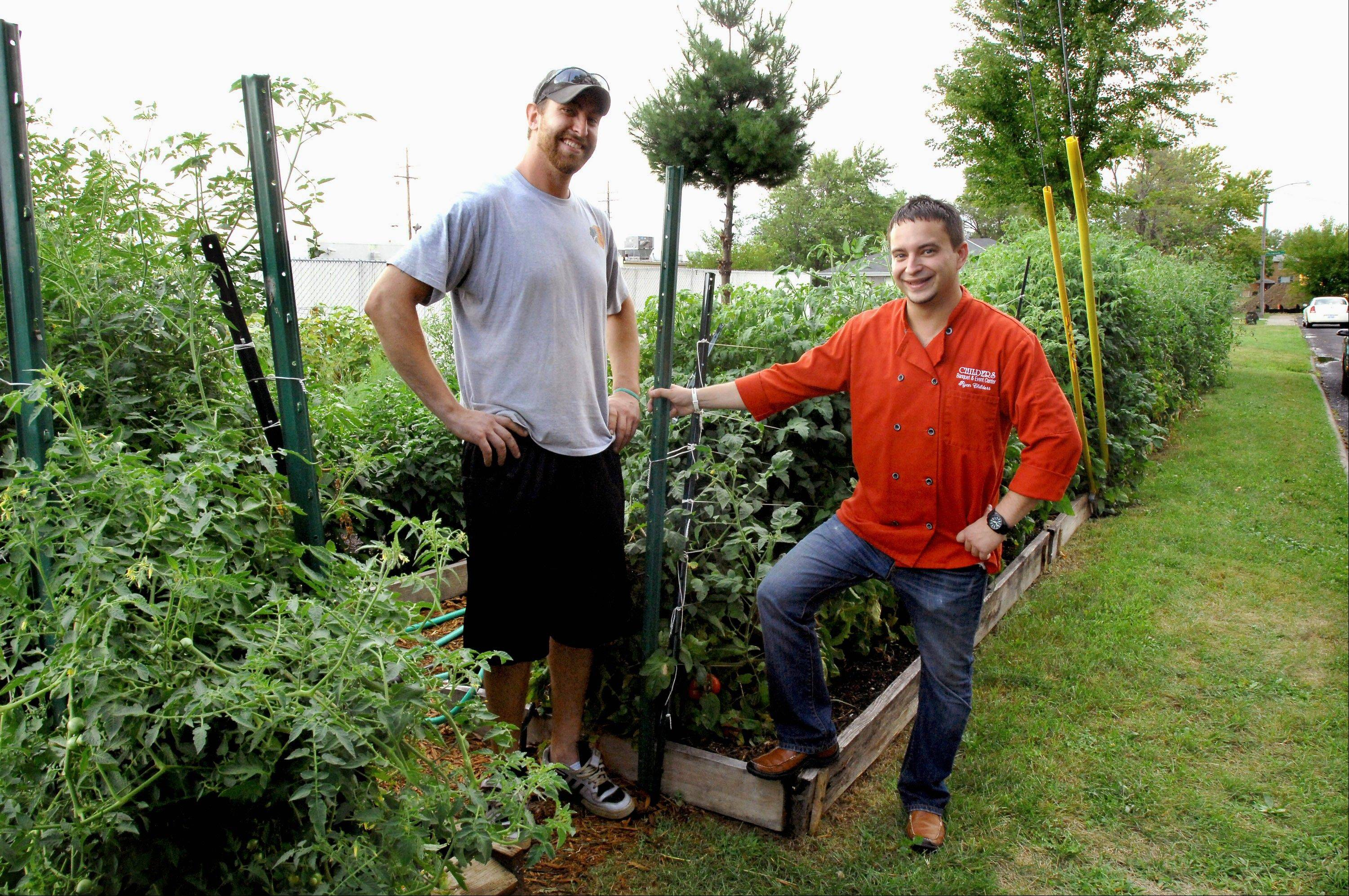 Michael Hobin, left, and Ryan Childers, right, stand beside the 1,500-square-foot organic vegetable garden they planted behind Childers Eatery in Peoria this spring. Until this year, Childers and Hobin knew very little about gardening.