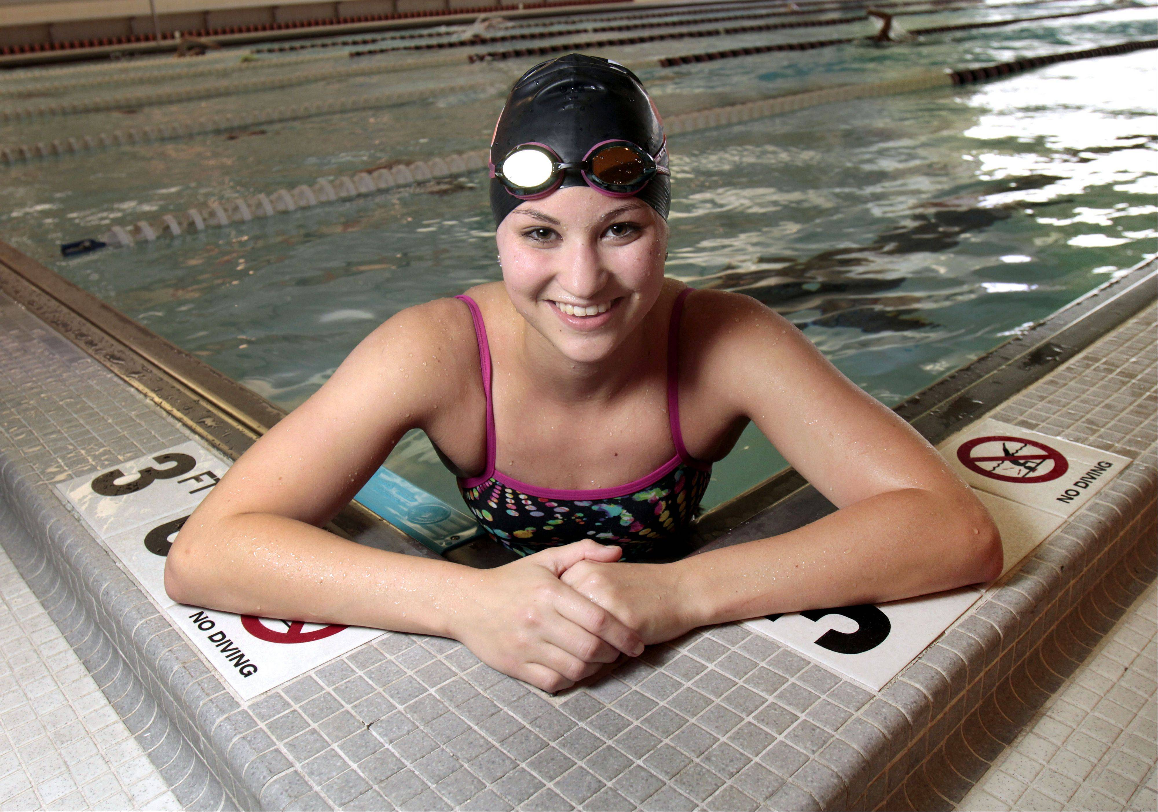 Libertyville senior swimmer Morgan Dickson placed in the top six in the 200 and 500-yard freestyles at state last year. She hopes focusing on leg strength will give her a leg up on the competition as she begins her senior year.