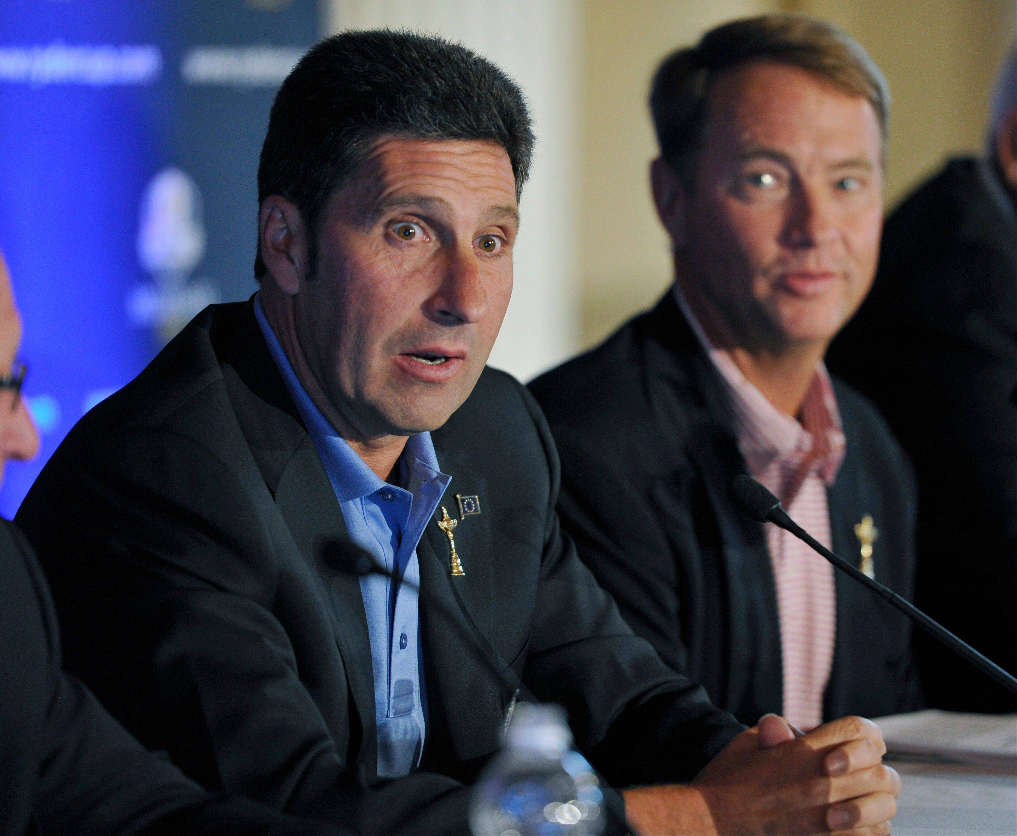 European Ryder Cup captain Jose Maria Olazabal, left, said he was surprised by Hunter Mahan�s absence from the U.S. Ryder Cup team, but he understands why Brandt Snedeker was chosen instead.