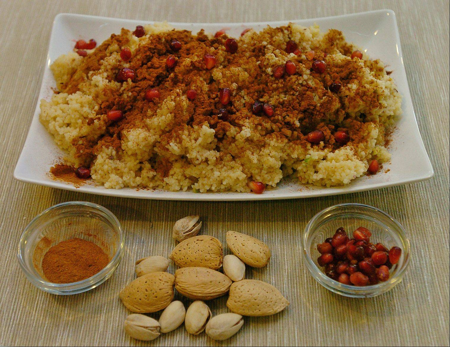 Heart-healthy pistachios and almonds make this couscous a nutritious dish.