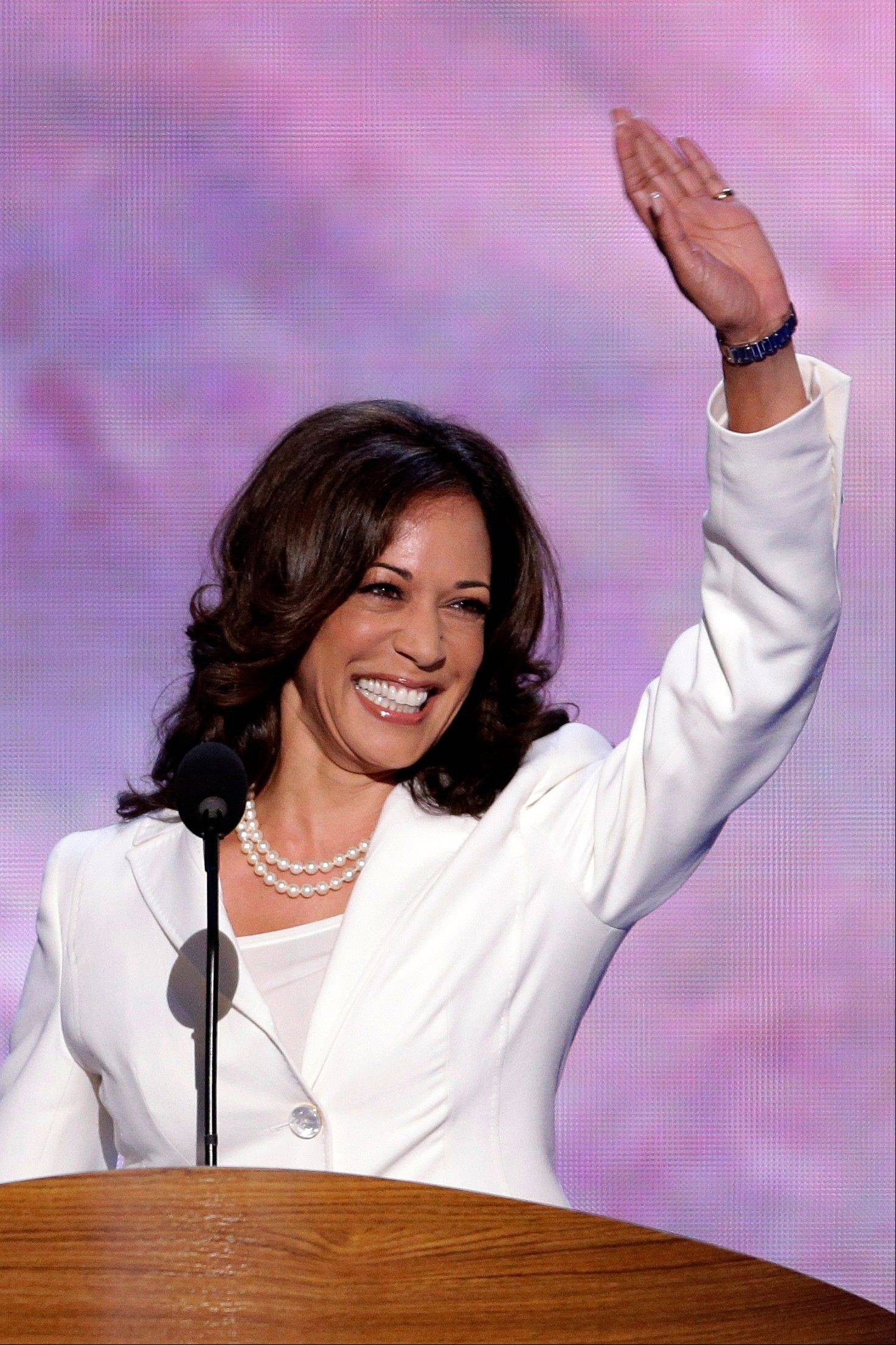California Attorney General Kamala D. Harris waves before addressing the Democratic National Convention in Charlotte, N.C., on Wednesday, Sept. 5, 2012.