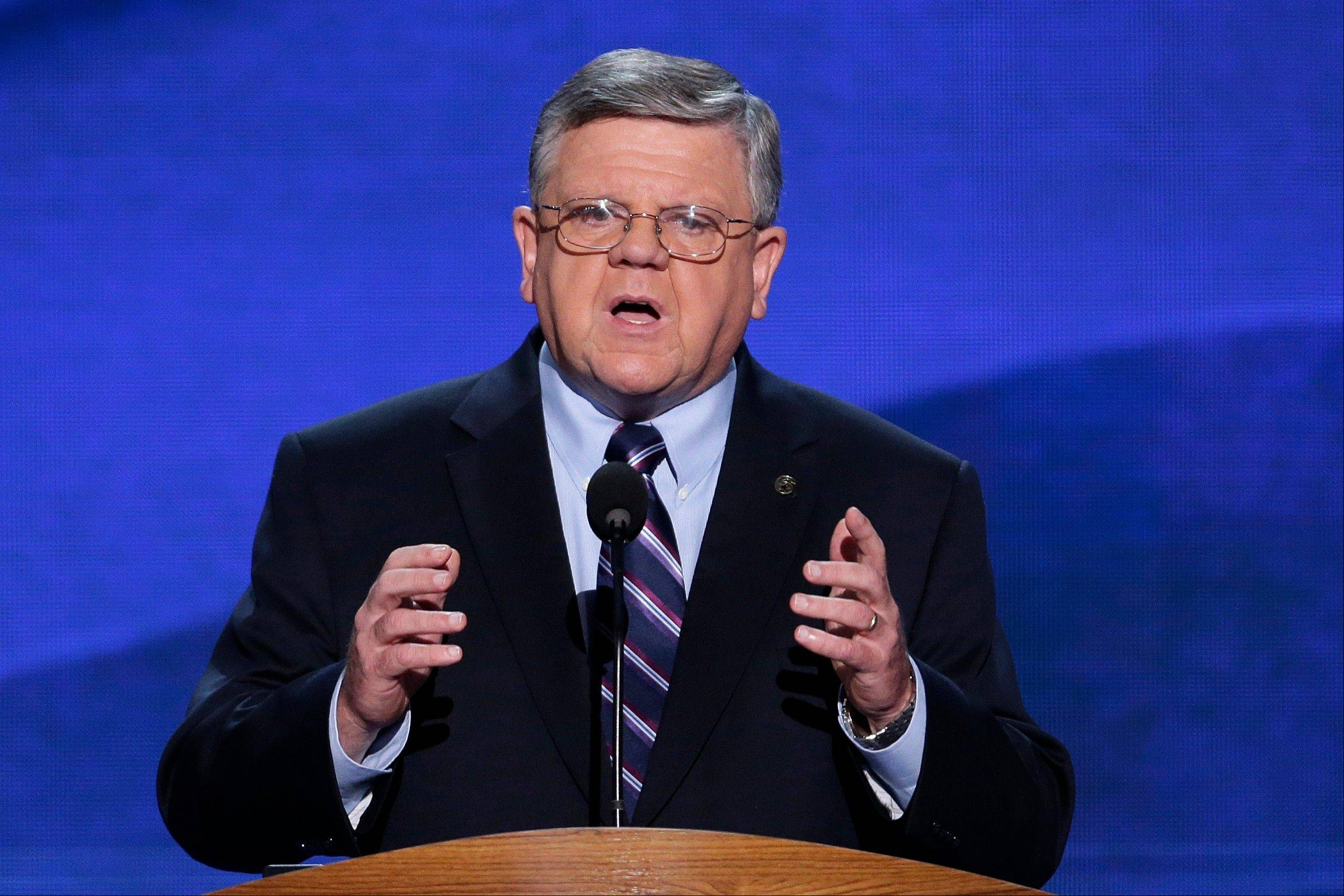 Veteran Ed Meagher addresses the Democratic National Convention in Charlotte, N.C., on Wednesday, Sept. 5, 2012.