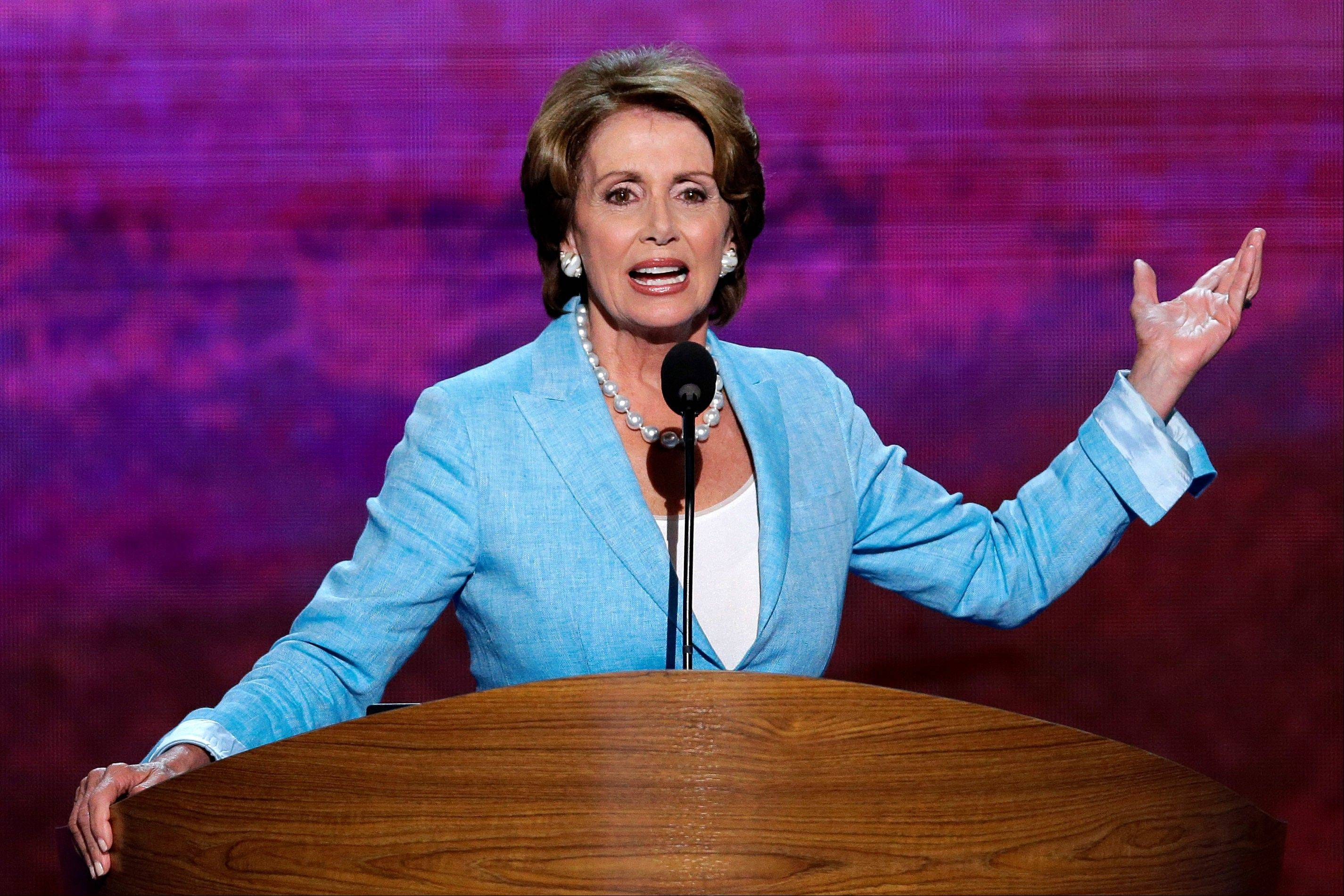 House Minority Leader Nancy Pelosi addresses the Democratic National Convention in Charlotte, N.C., on Wednesday, Sept. 5, 2012.