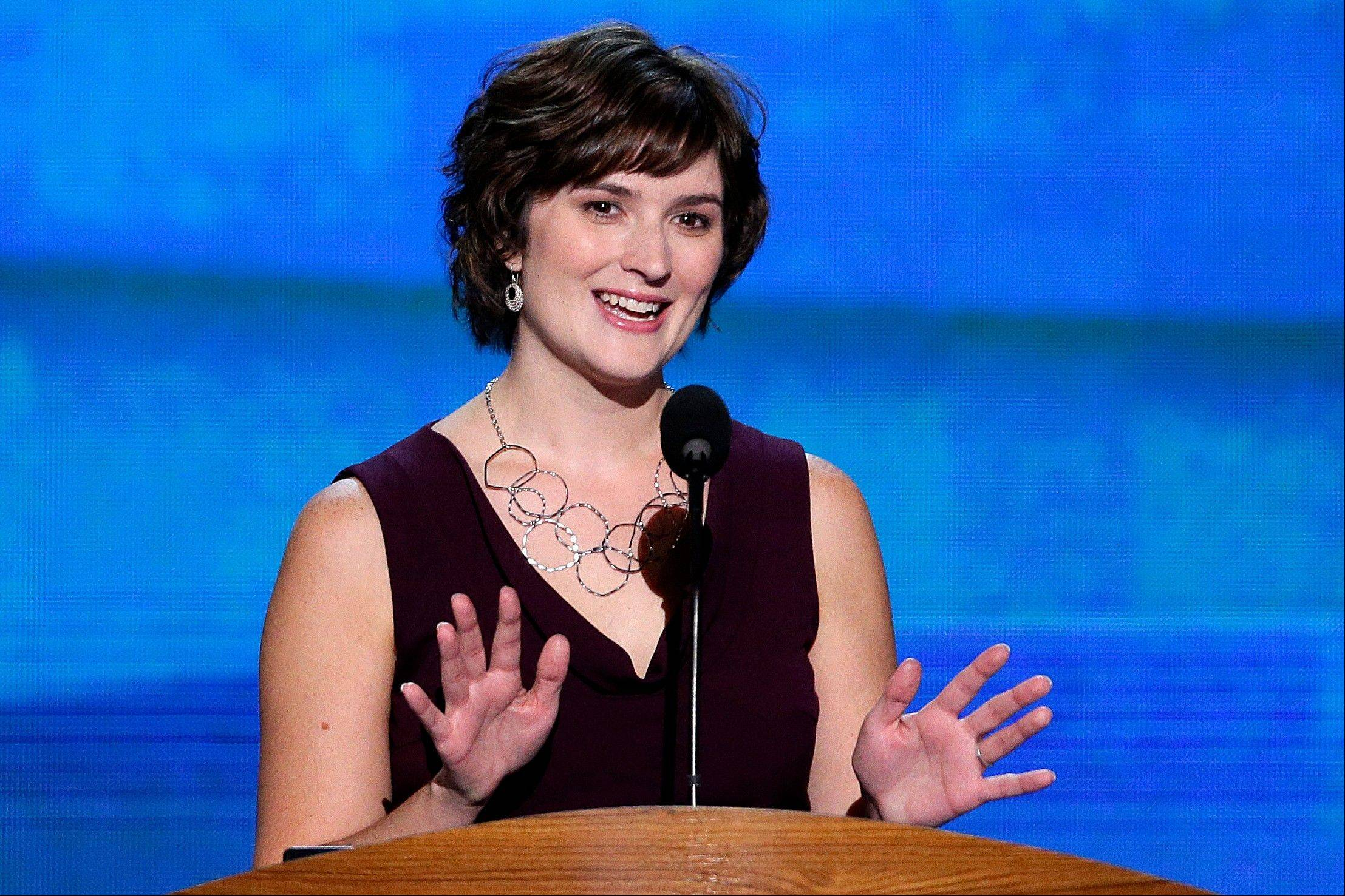 Sandra Fluke, attorney and women's rights activist addresses the Democratic National Convention in Charlotte, N.C., on Wednesday, Sept. 5, 2012.