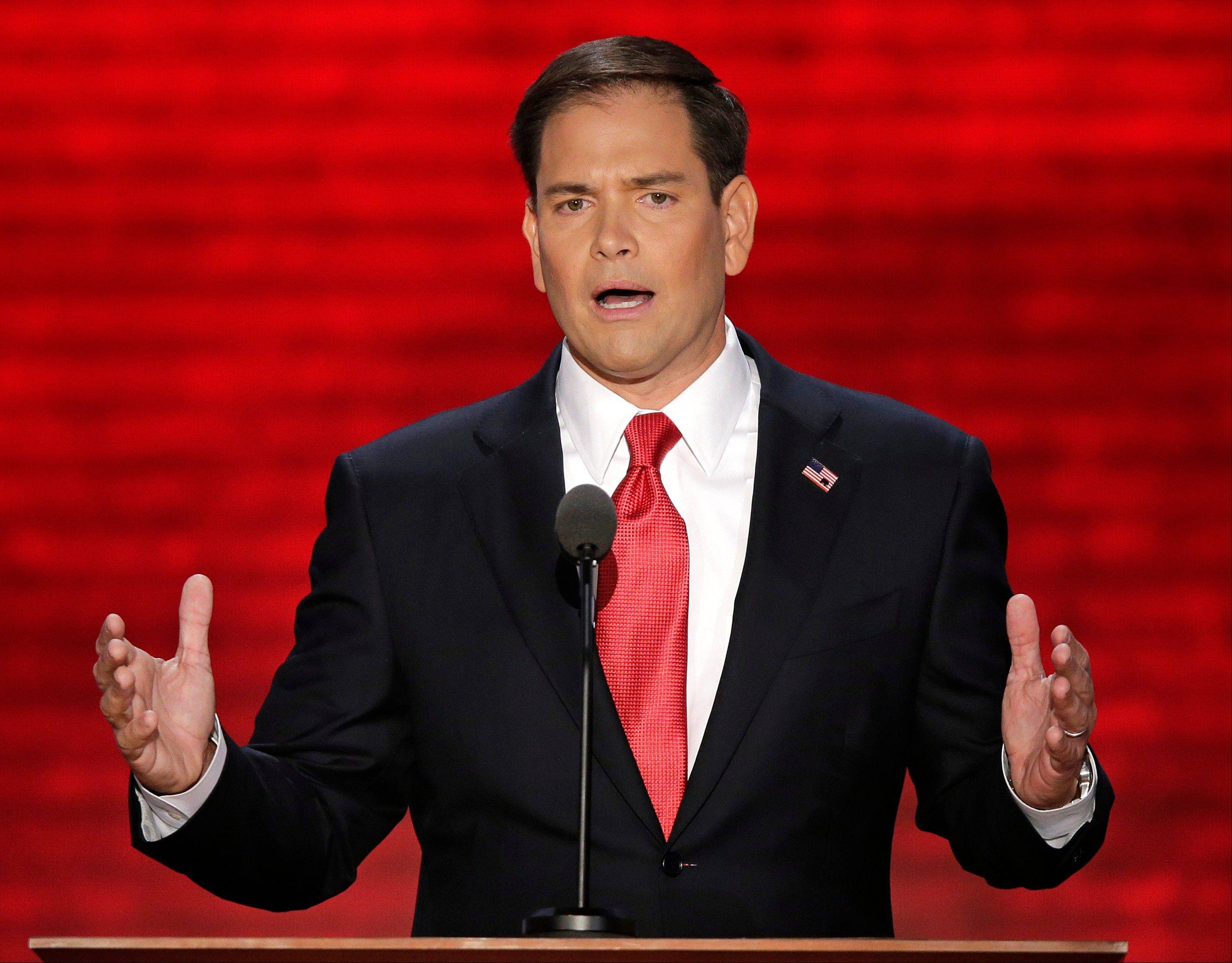 Florida Sen. Marco Rubio addresses the Republican National Convention in Tampa, Fla.
