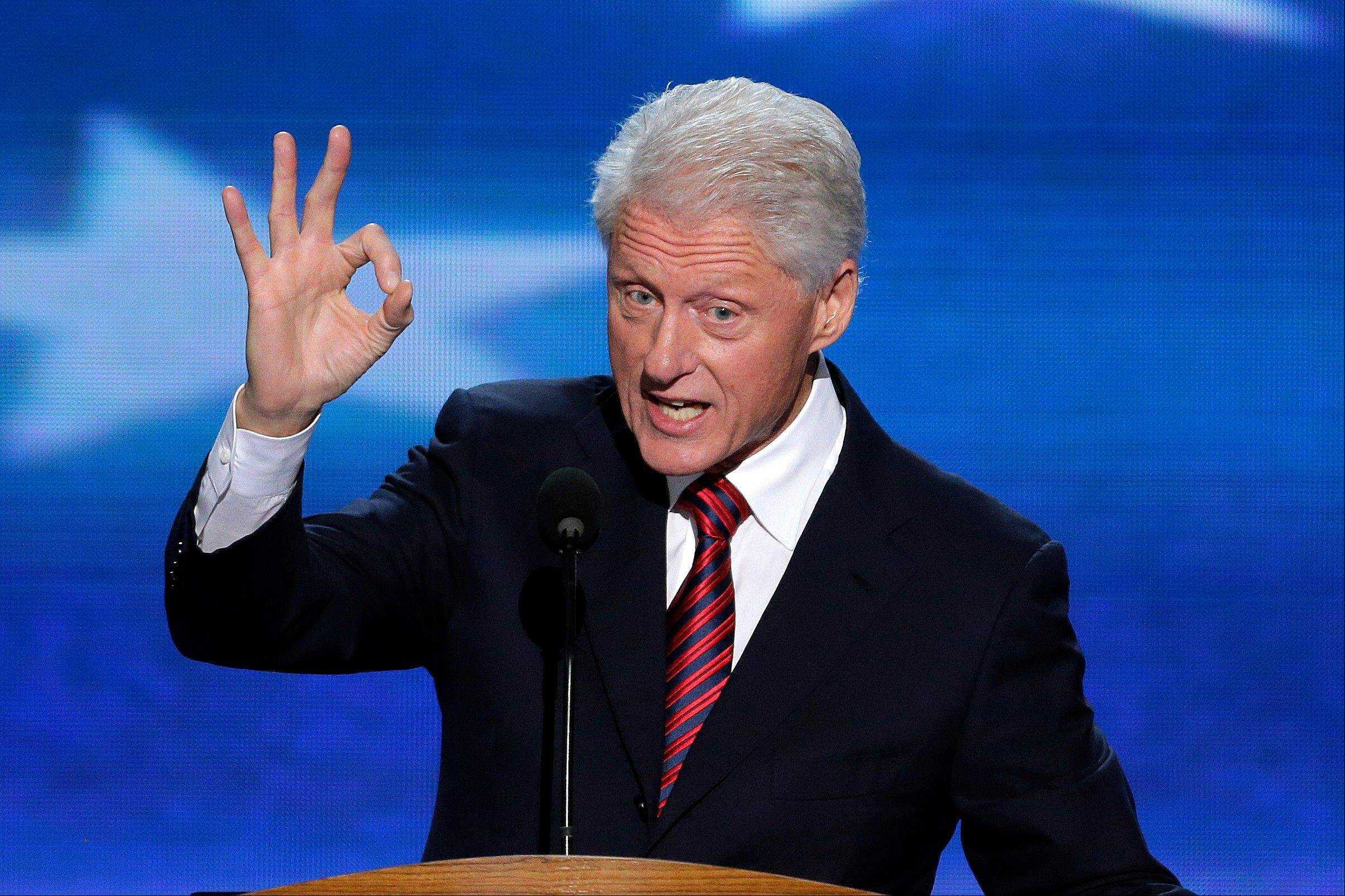 Former President Bill Clinton addresses the Democratic National Convention in Charlotte, N.C., Wednesday.